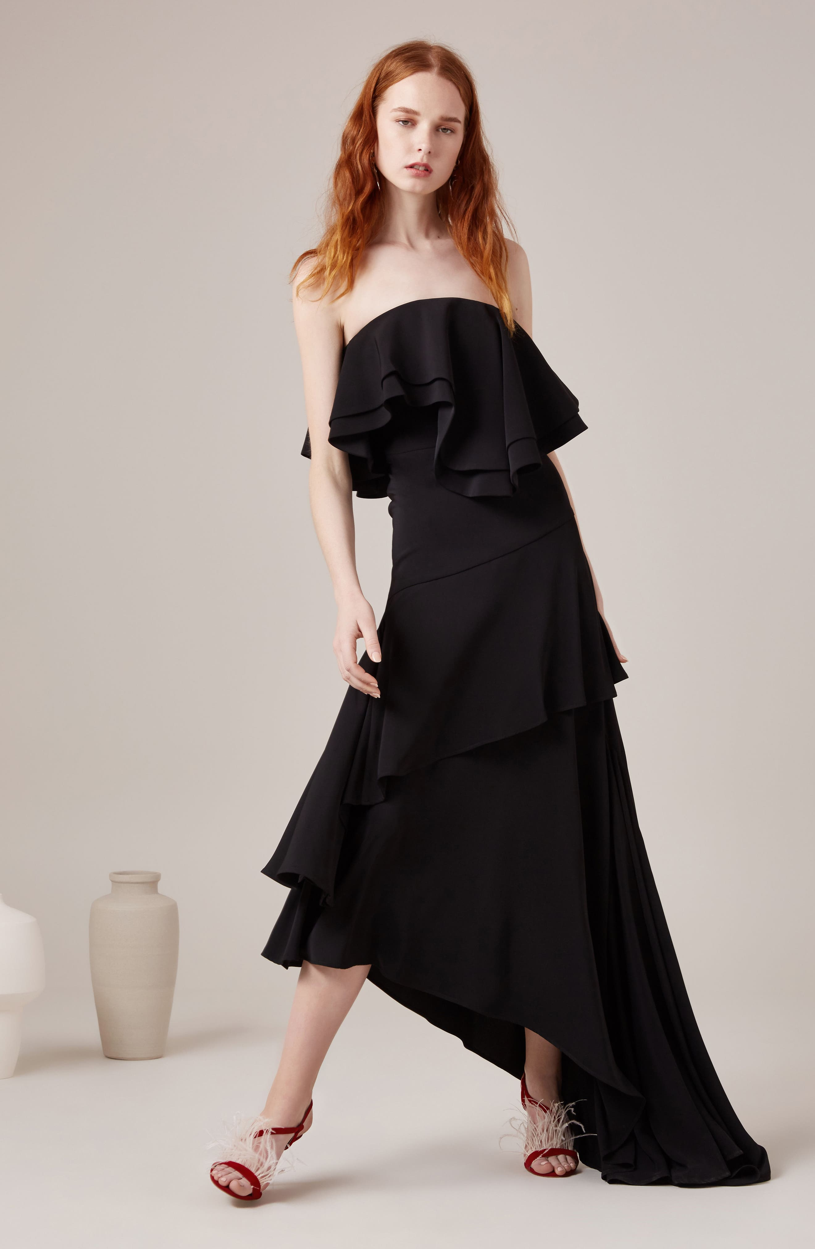 With You Strapless Asymmetric Gown,                             Alternate thumbnail 2, color,                             Black