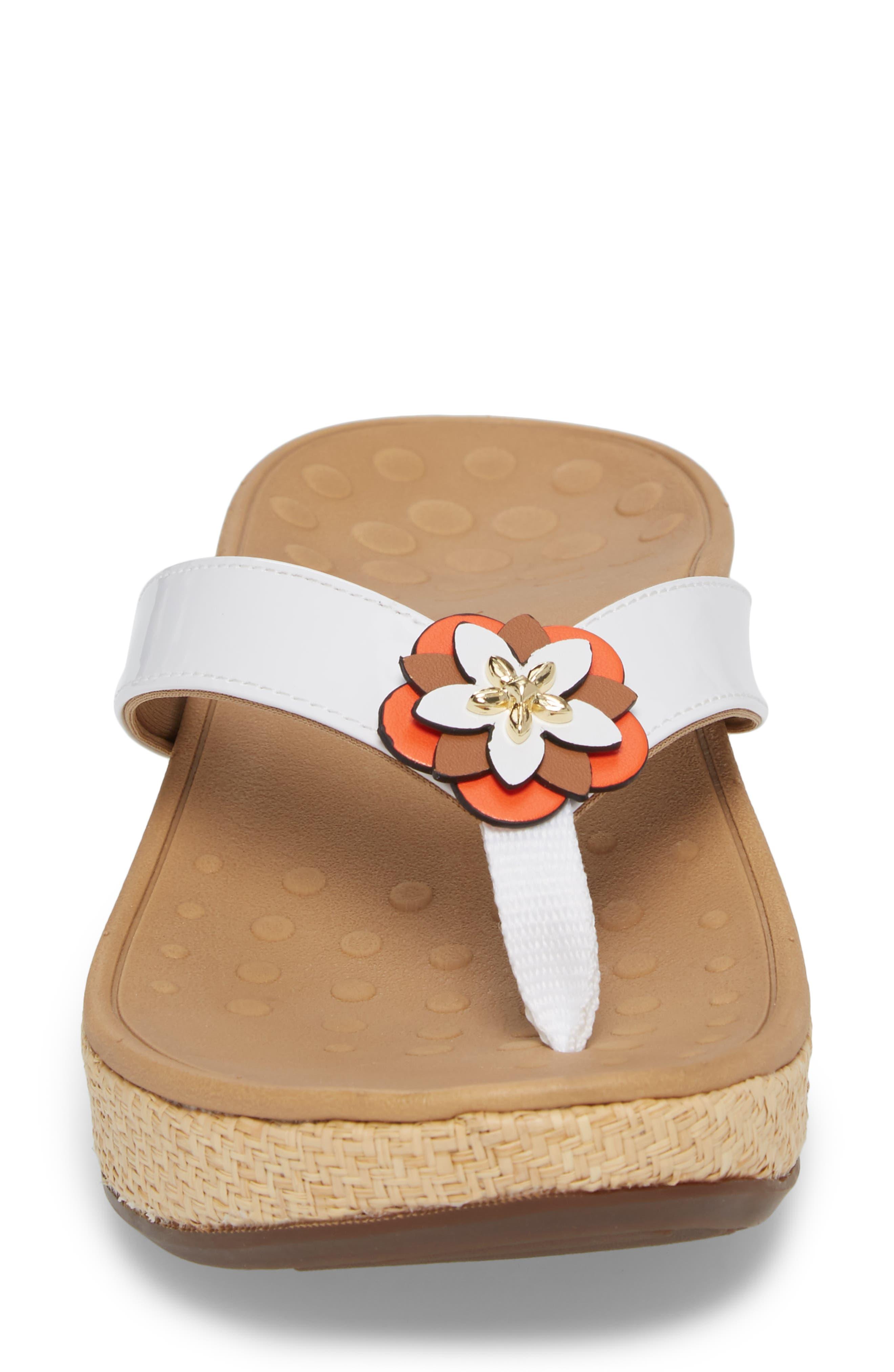 Mimi Wedge Flip Flop,                             Alternate thumbnail 4, color,                             White Leather