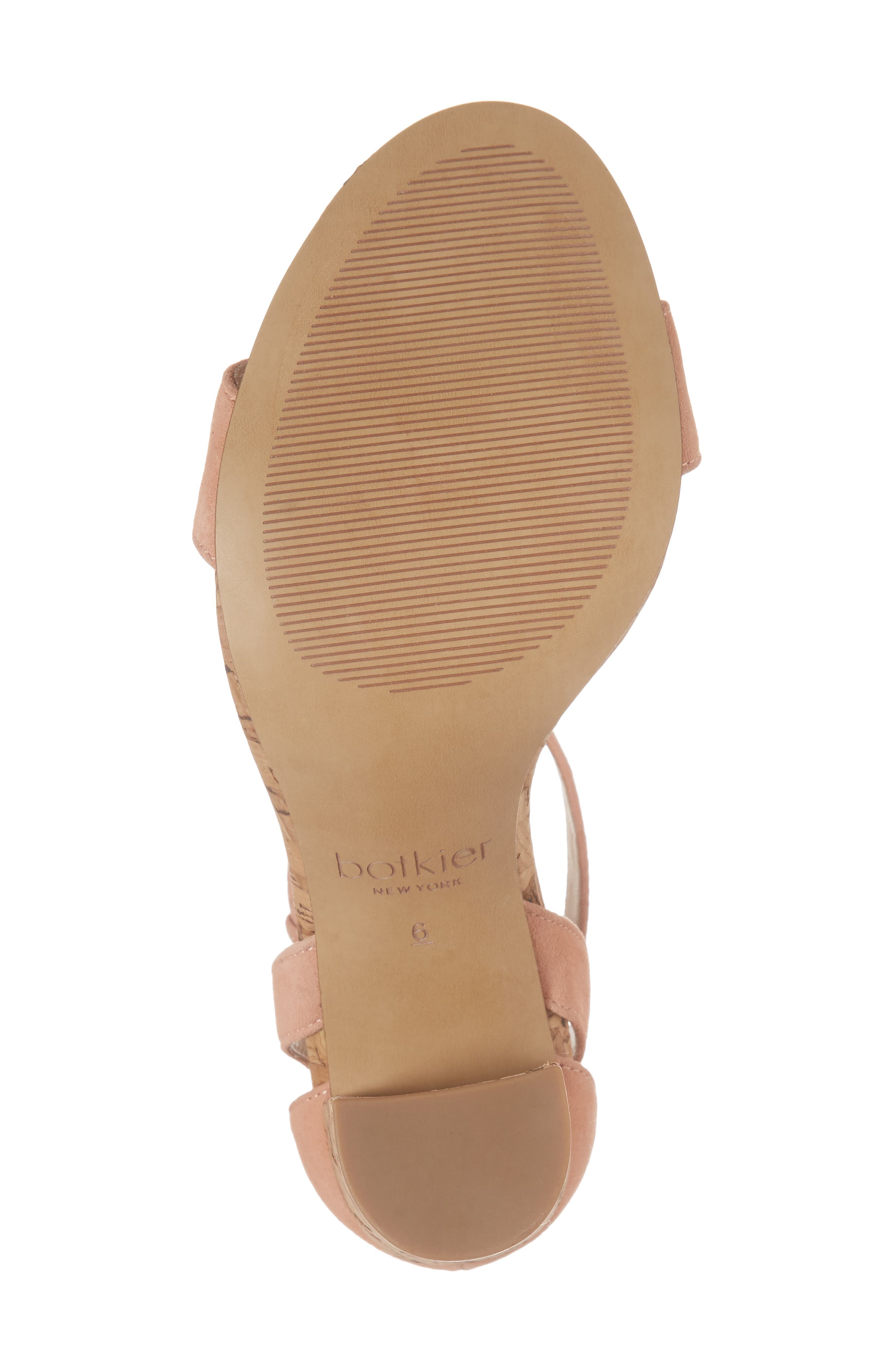Gianna Ankle Strap Sandal,                             Alternate thumbnail 6, color,                             Soft Peach Suede