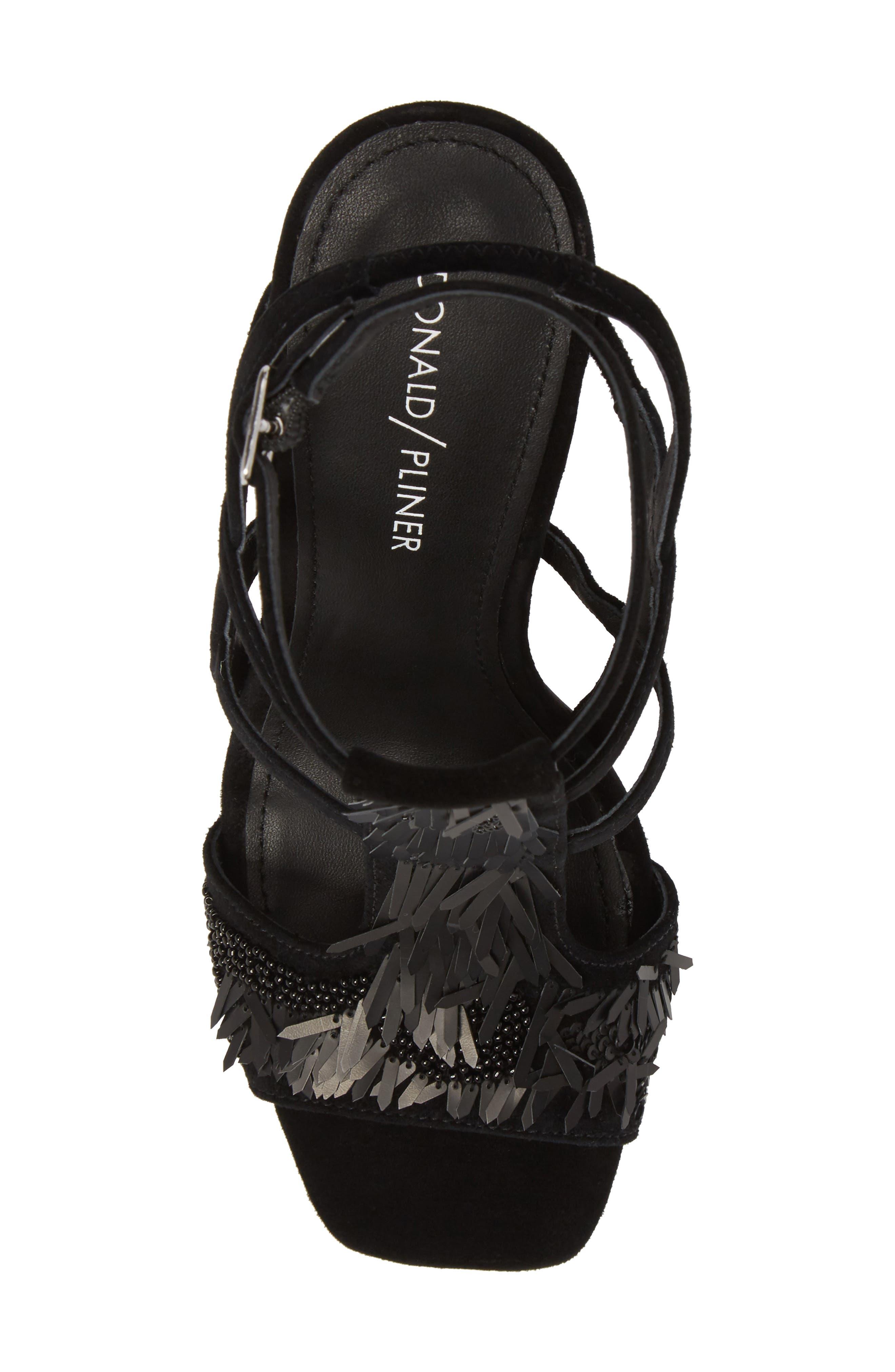 Willow Sandal,                             Alternate thumbnail 5, color,                             Black Sequin Fabric