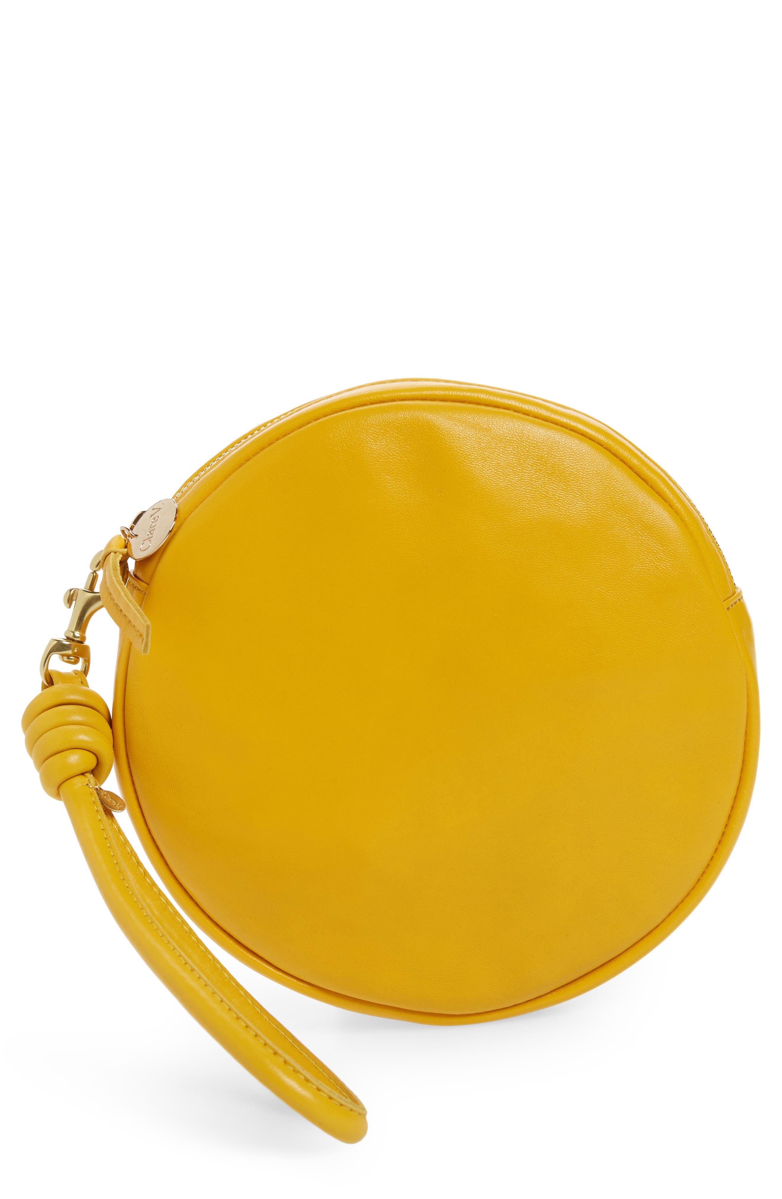 Lambskin Leather Circle Clutch,                         Main,                         color, Yellow Golfa