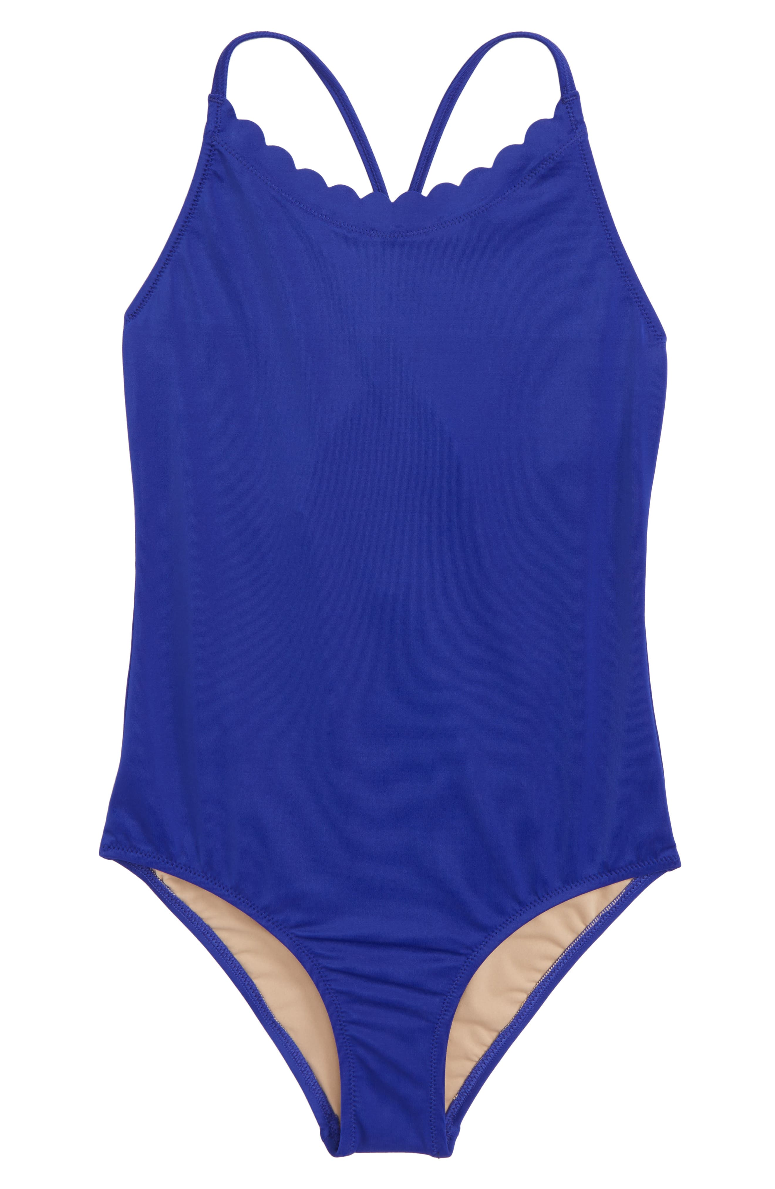 Scalloped One-Piece Swimsuit,                         Main,                         color, Deep Orchid