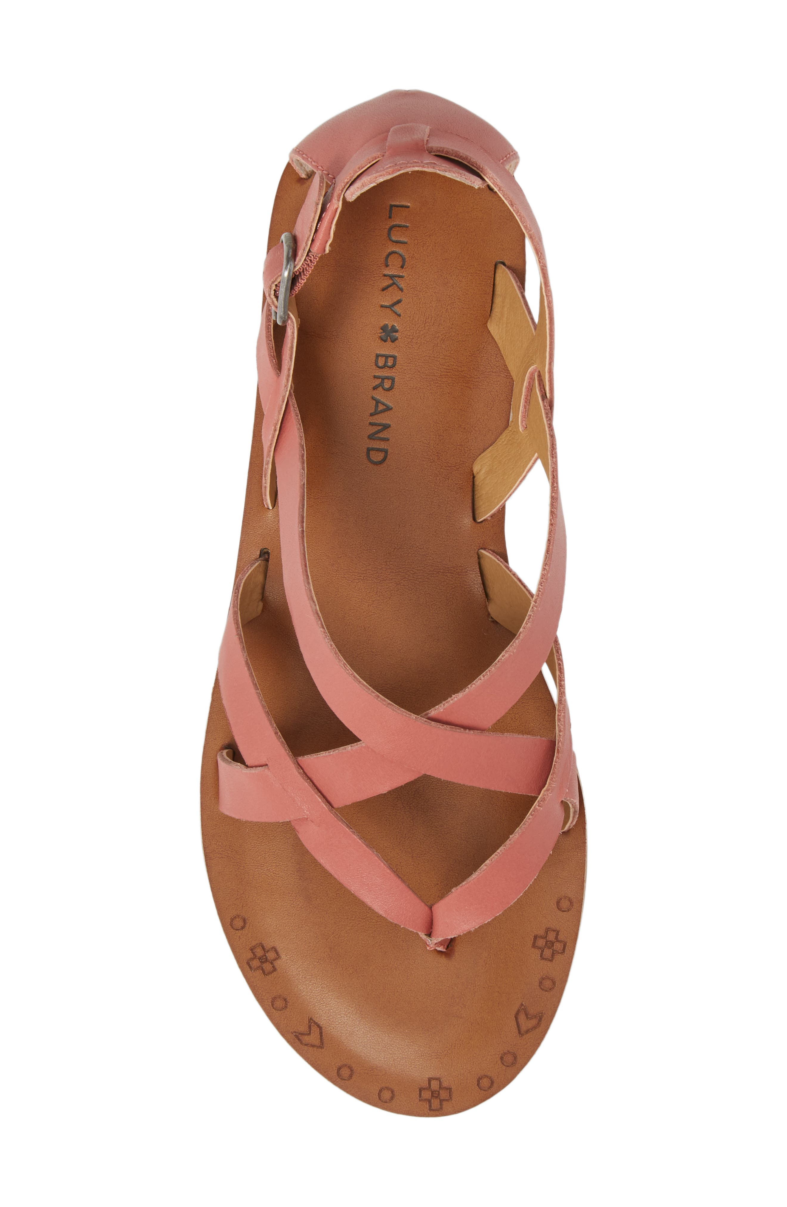 Ainsley Flat Sandal,                             Alternate thumbnail 5, color,                             Canyon Rose Leather