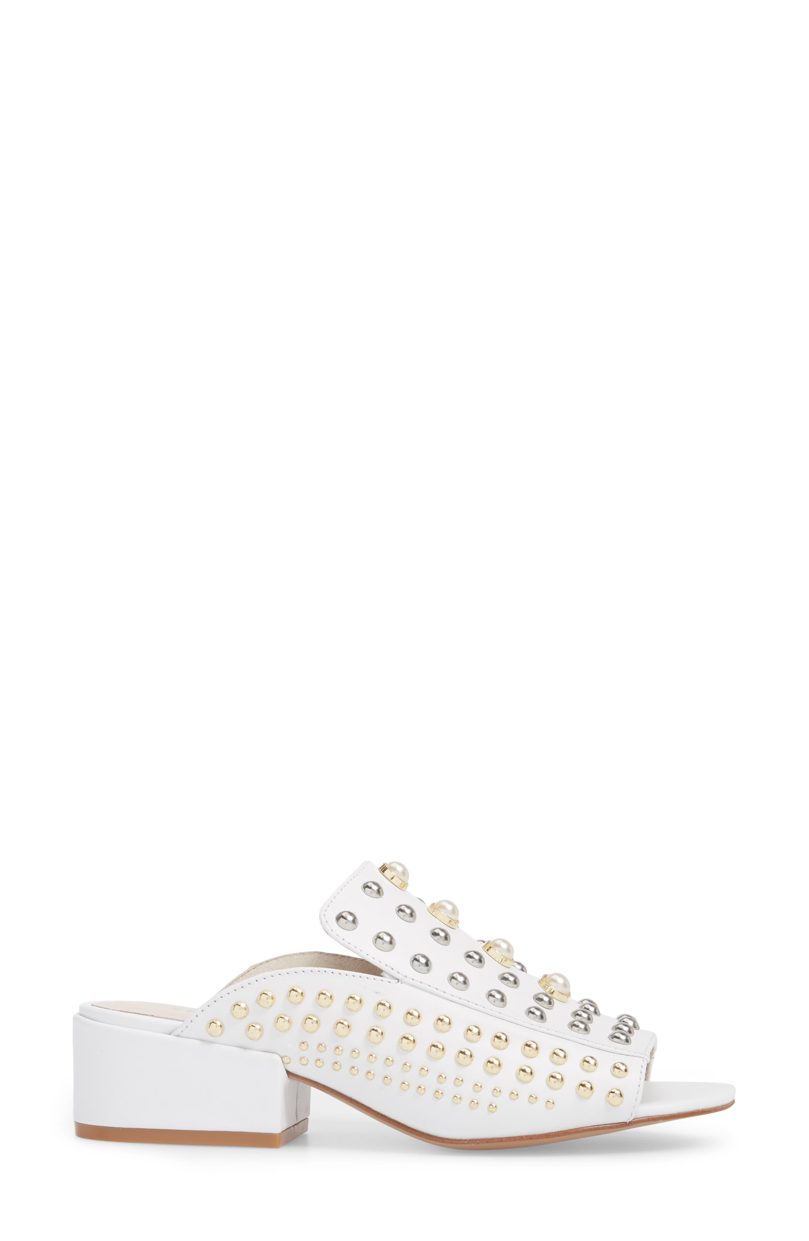 Farley Studded Slide Sandal,                             Alternate thumbnail 3, color,                             White Leather