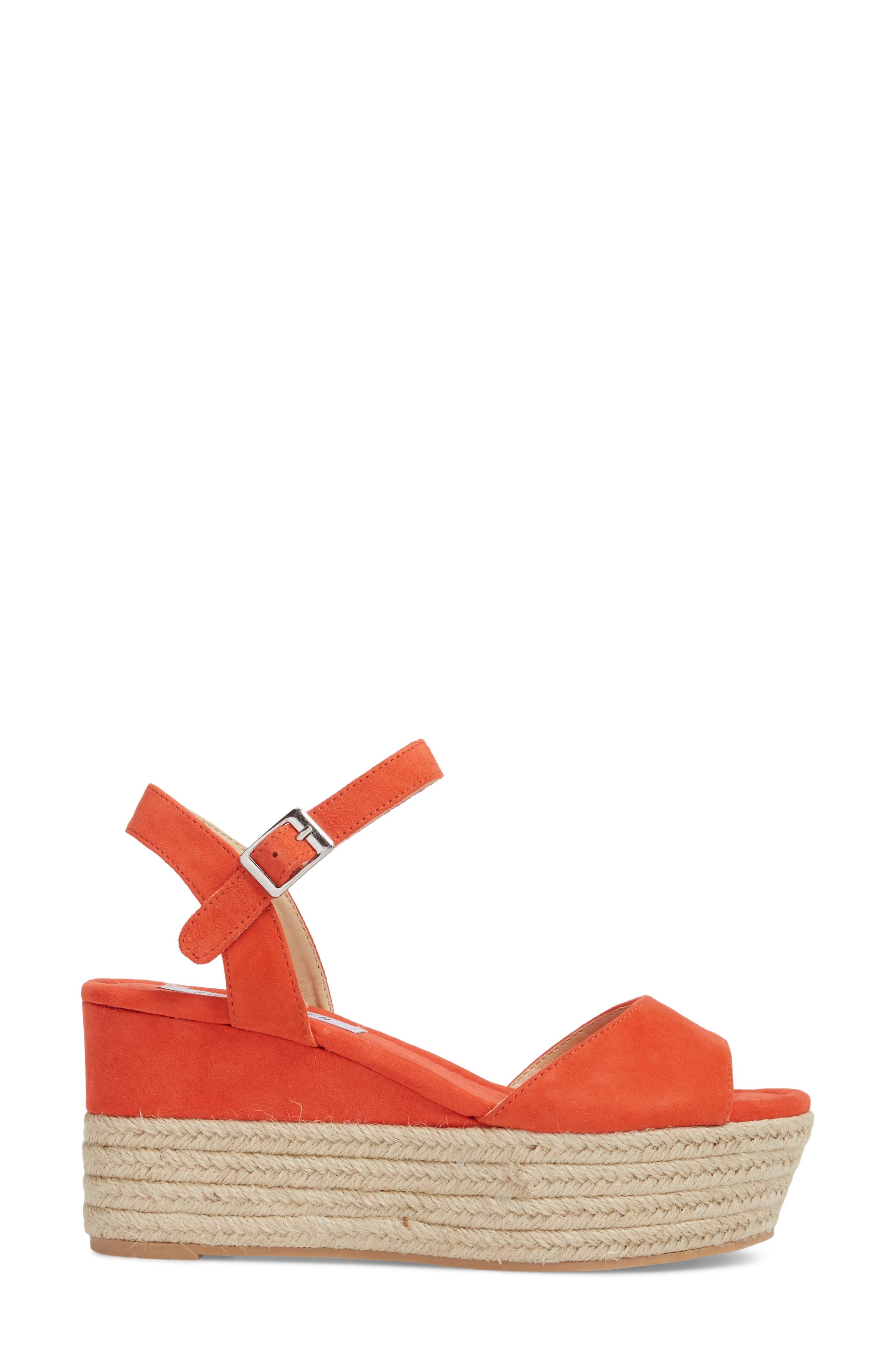 Kianna Espadrille Wedge Sandal,                             Alternate thumbnail 3, color,                             Coral Suede