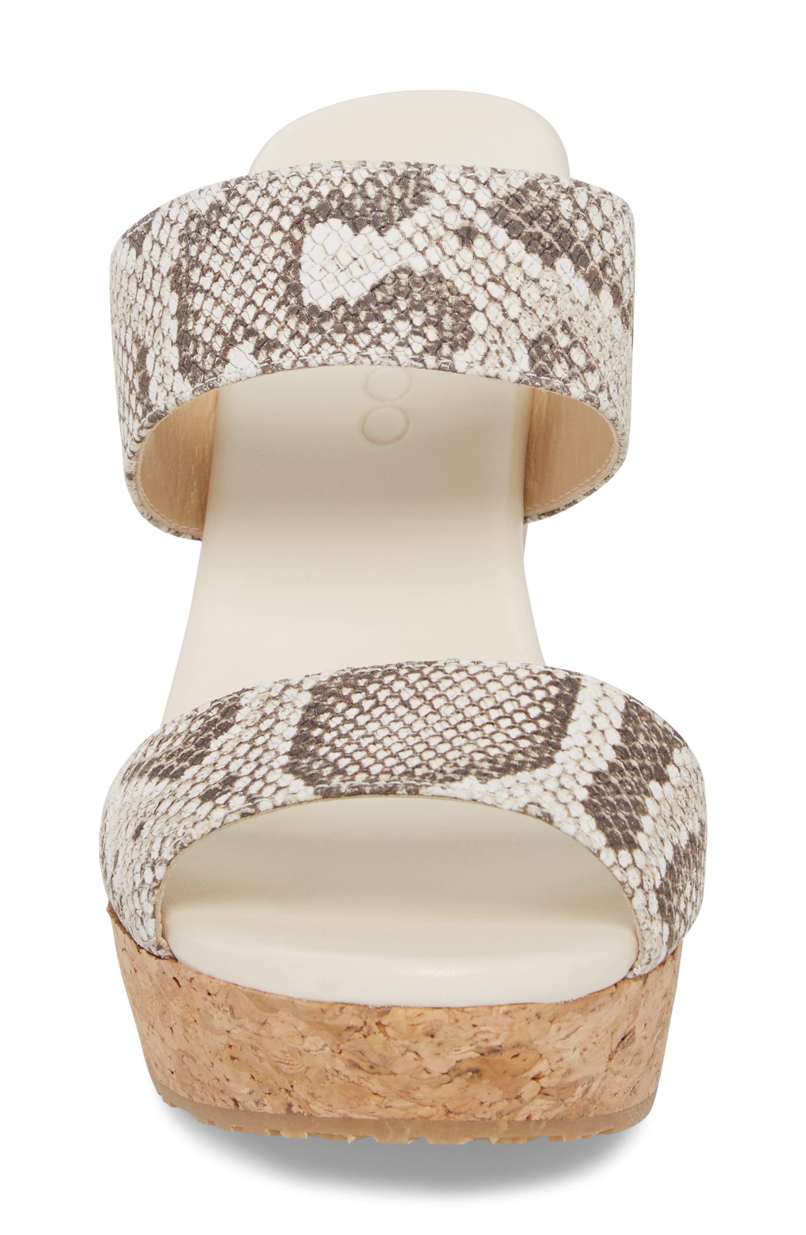 Parker Platform Wedge Sandal,                             Alternate thumbnail 4, color,                             Natural/ Snakeprint