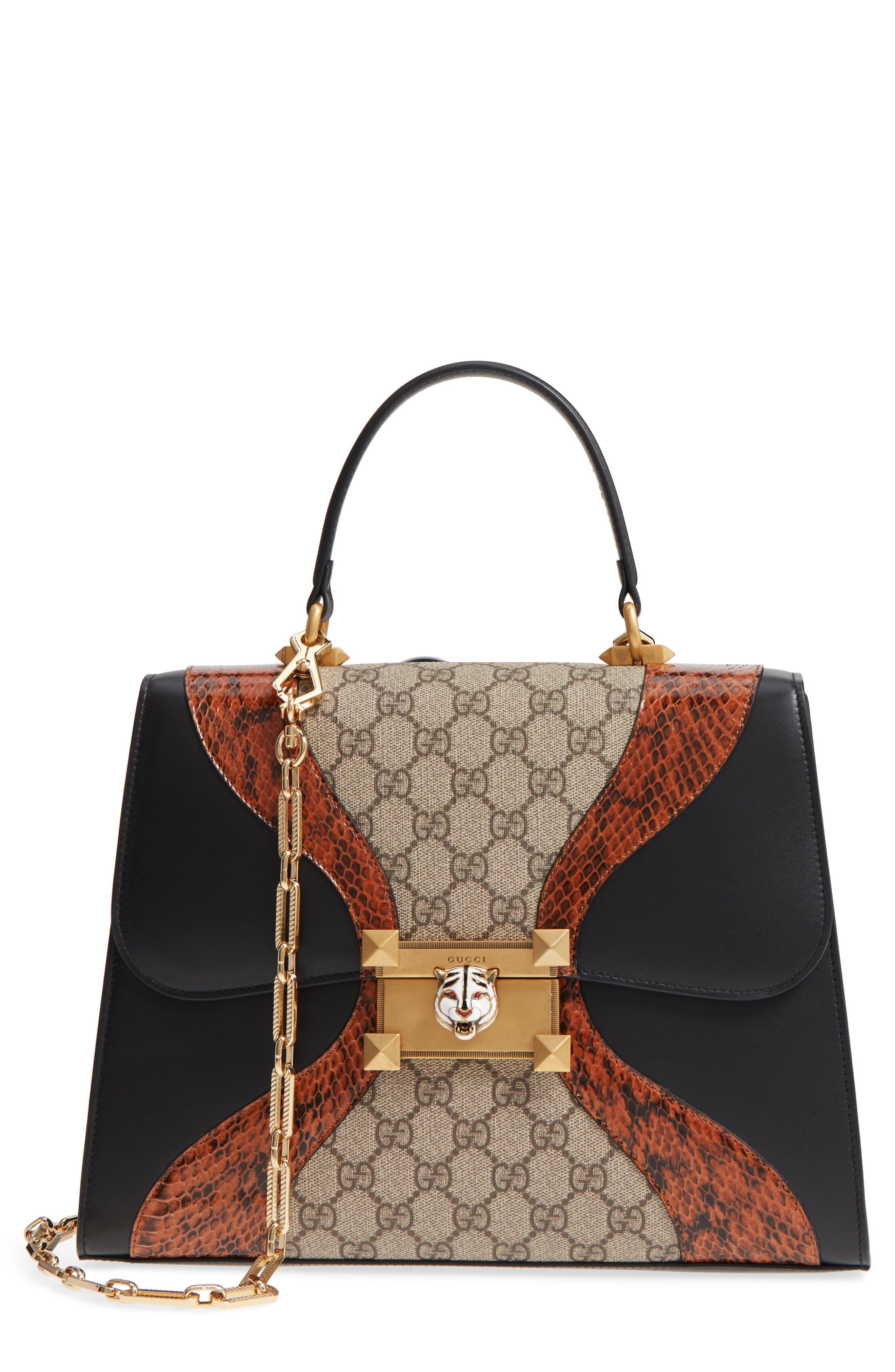 Gucci Osiride Leather, Genuine Snakeskin & GG Supreme Satchel