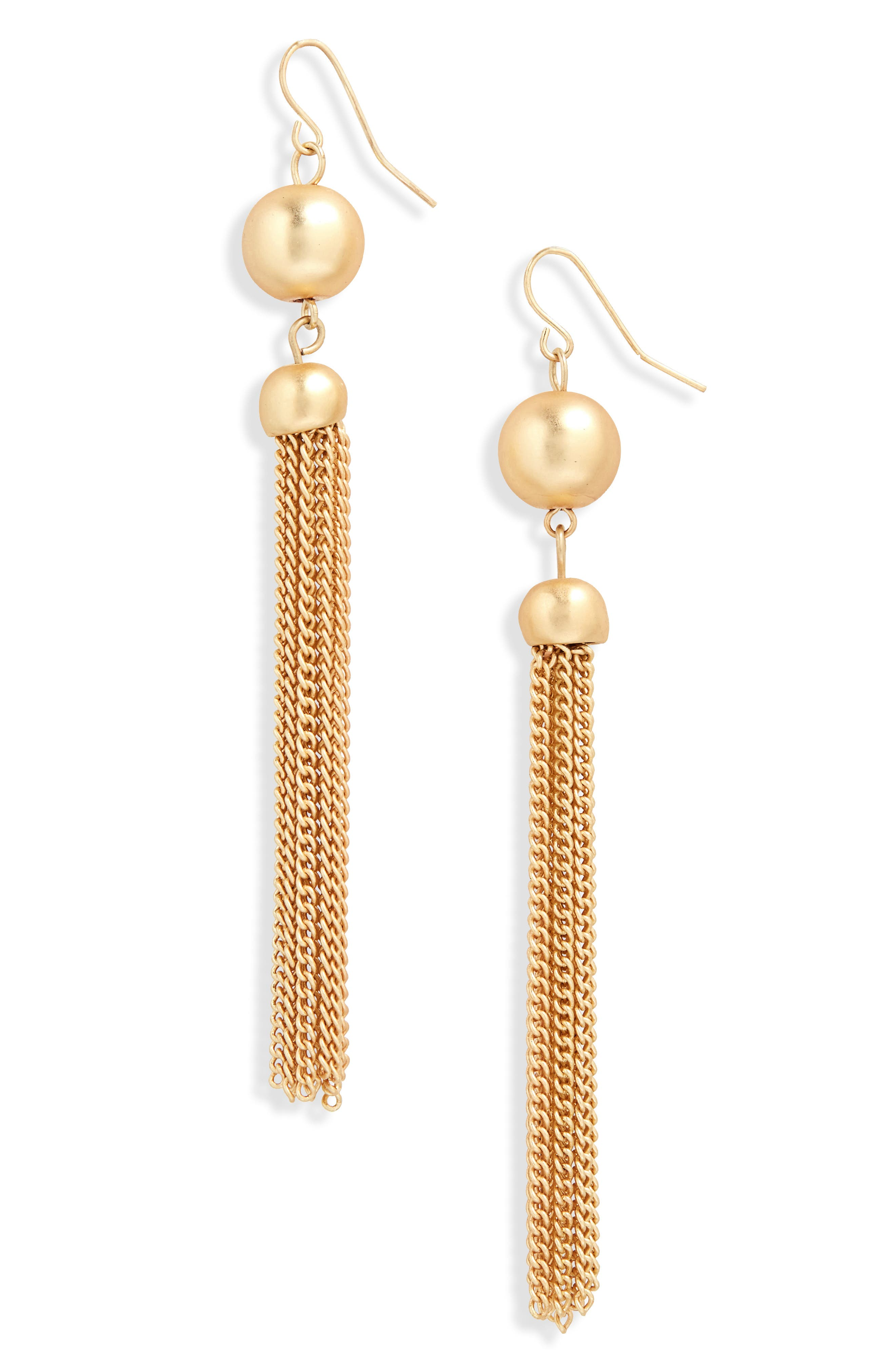 Double Drop Tassel Earrings,                             Main thumbnail 1, color,                             Gold