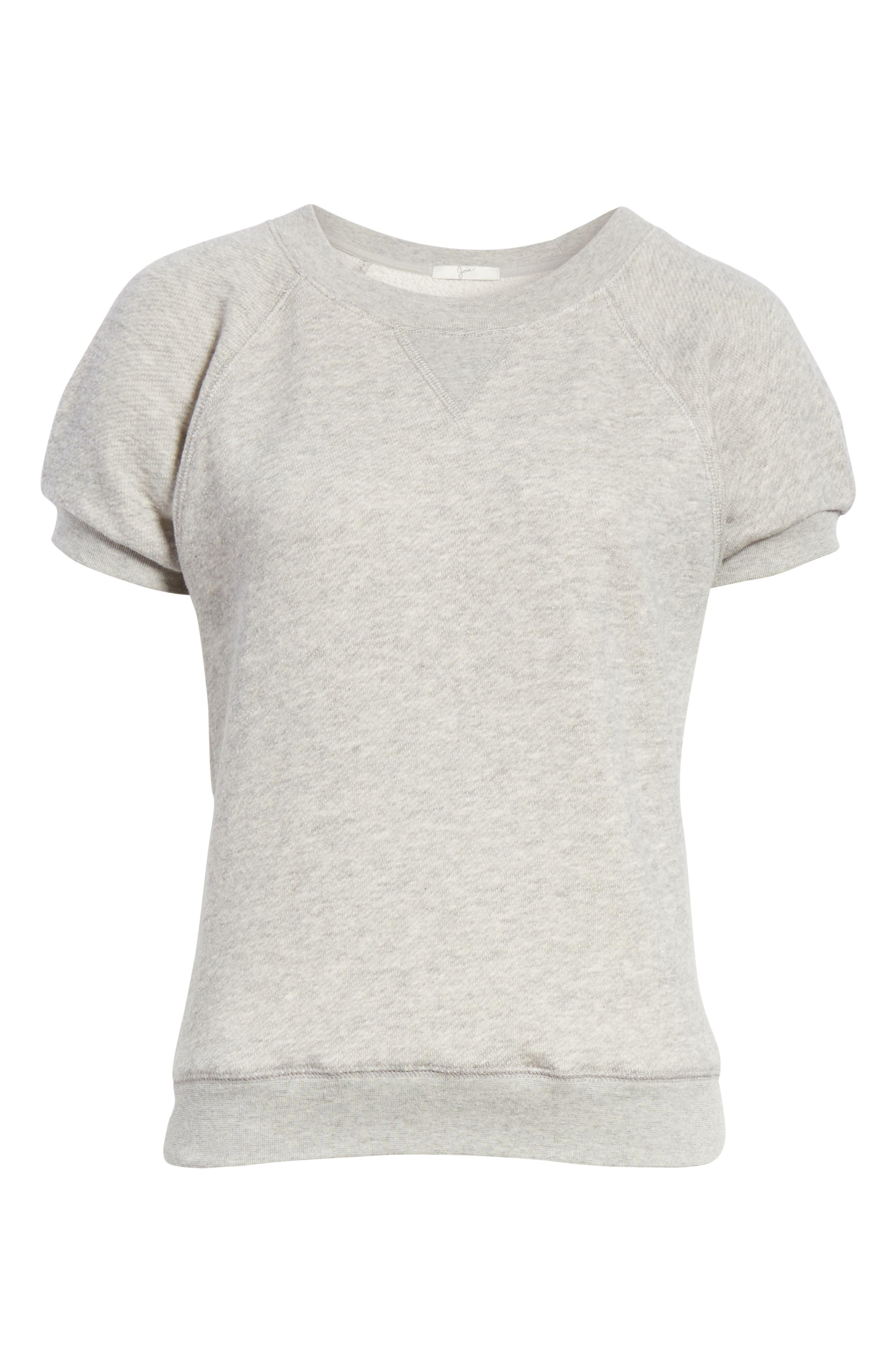 Christal Puff Sleeve Sweatshirt,                             Alternate thumbnail 6, color,                             Heather Grey
