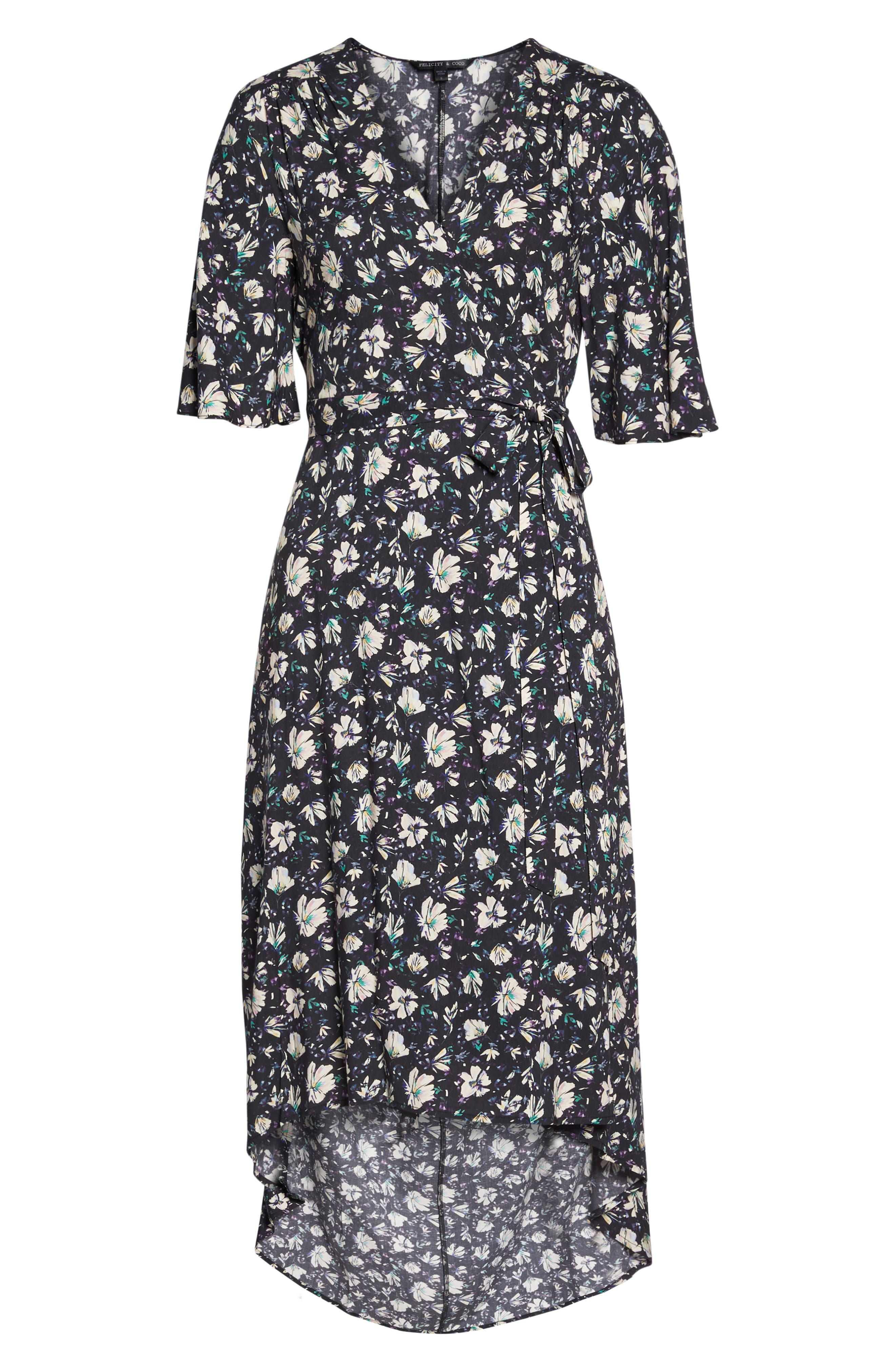Lonny Floral Wrap Dress,                             Alternate thumbnail 6, color,                             London Floral