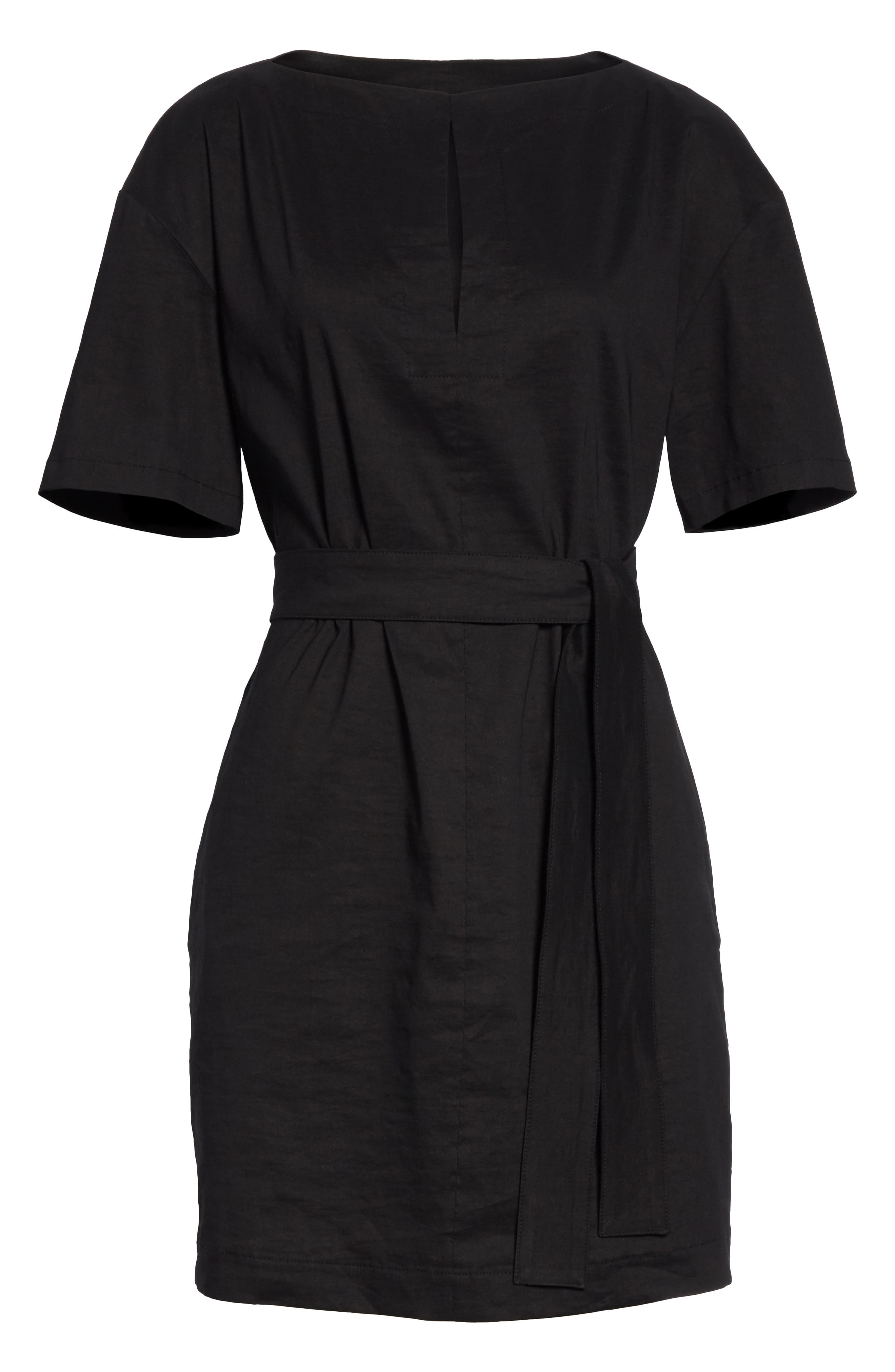 Belted Shift Dress,                             Alternate thumbnail 6, color,                             Black Multi