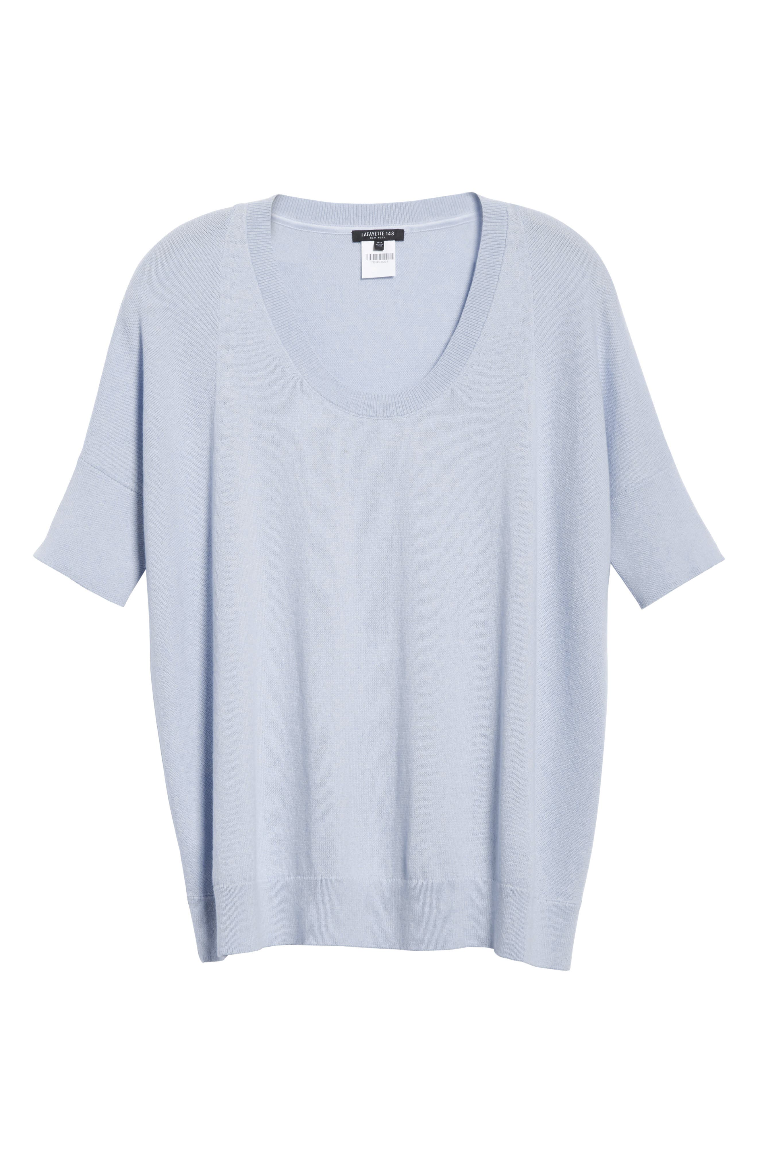 Cotton, Cashmere & Silk Oversized Scoop Neck Sweater,                             Alternate thumbnail 6, color,                             Pale Blue Melange