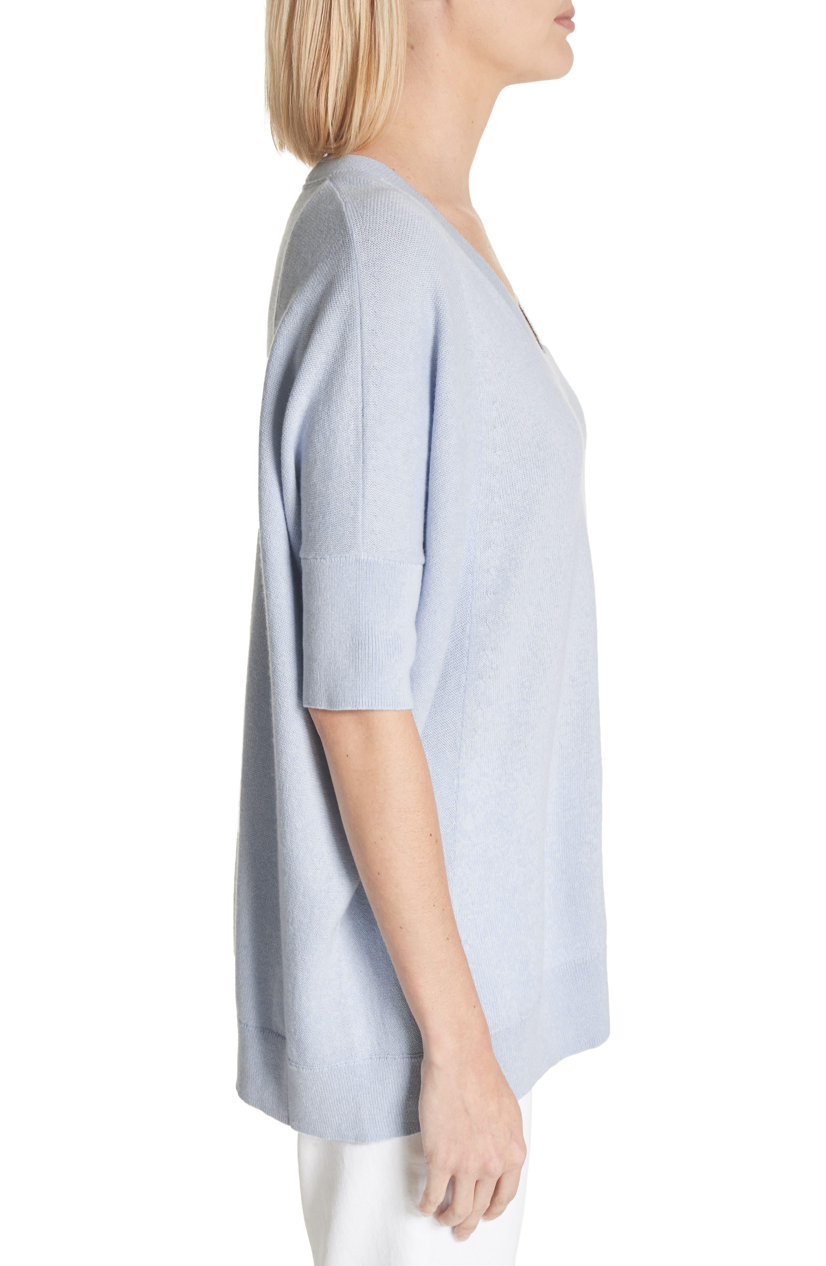 Cotton, Cashmere & Silk Oversized Scoop Neck Sweater,                             Alternate thumbnail 3, color,                             Pale Blue Melange