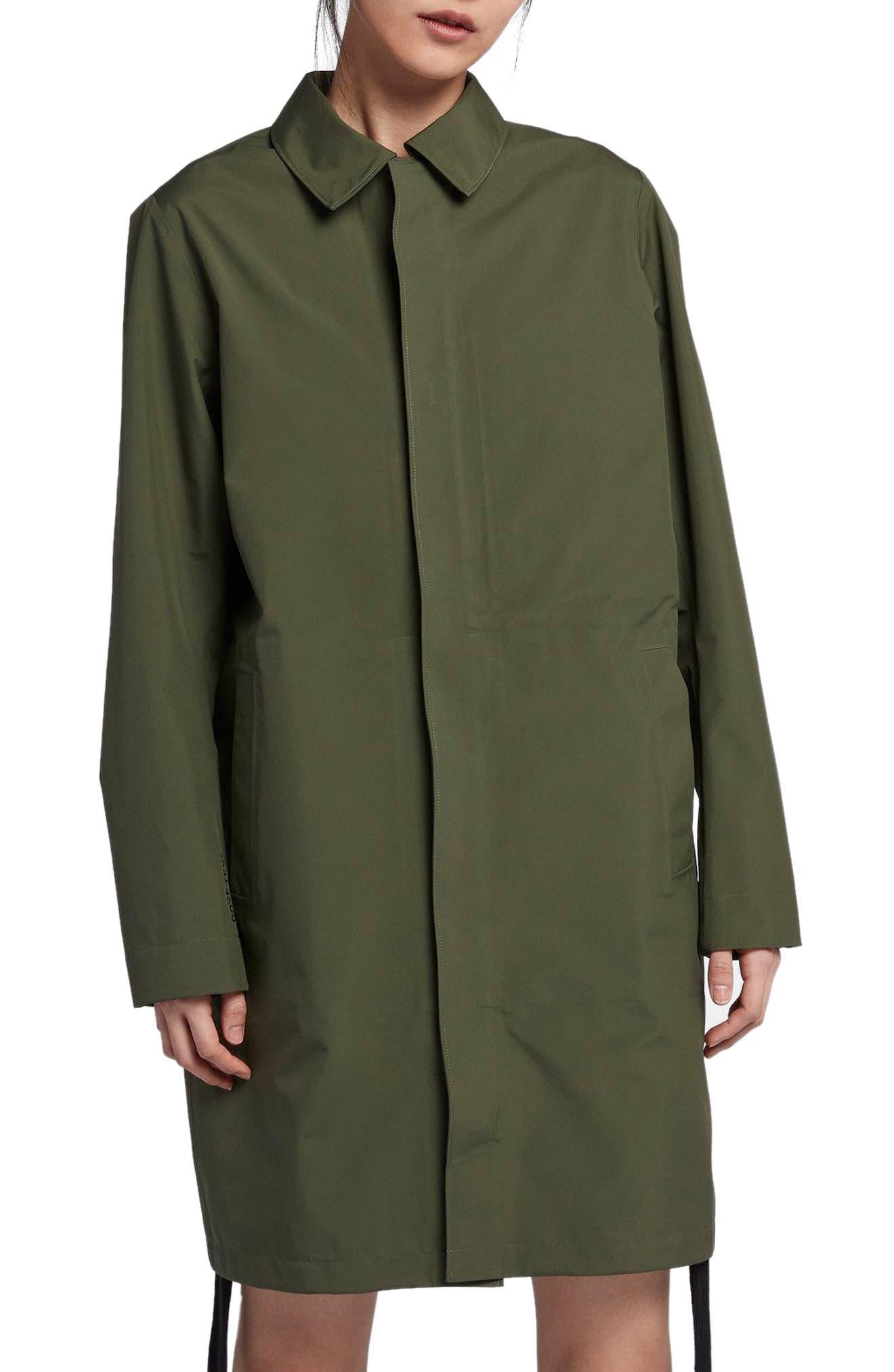 NikeLab x RT Women's Water Resistant Car Coat,                             Main thumbnail 1, color,                             Surplus Green