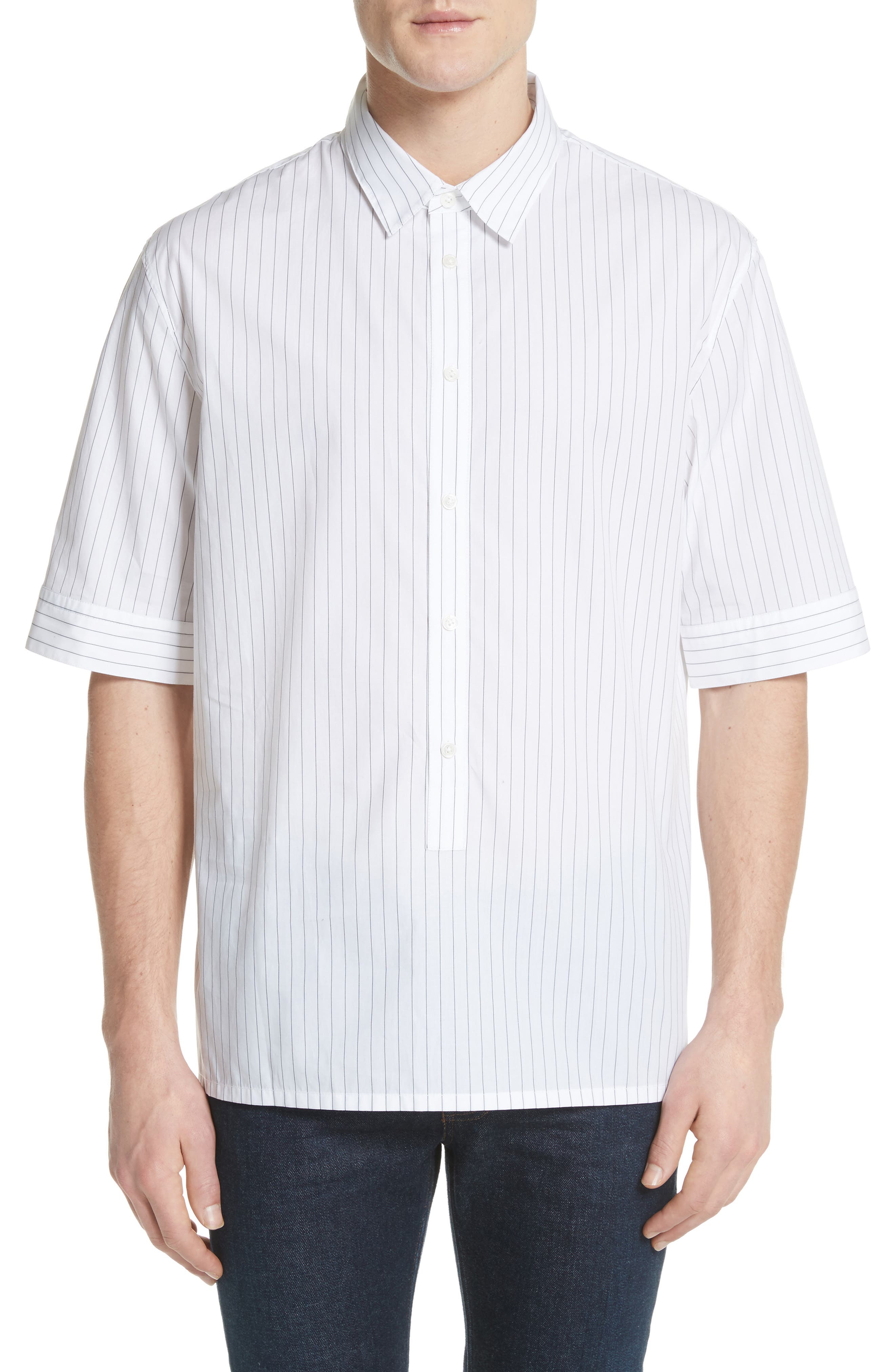 Elongated Placket Stripe Woven Shirt,                             Main thumbnail 1, color,                             White