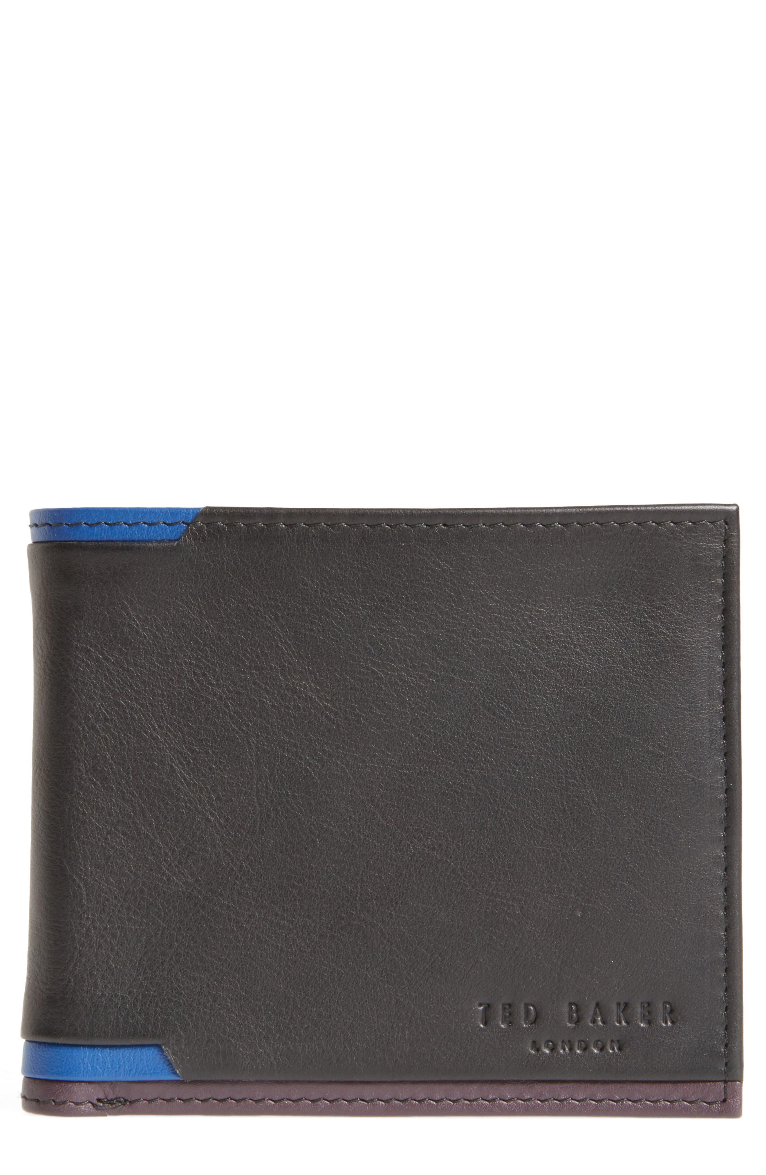Baldi Corner Detail Leather Wallet,                             Main thumbnail 1, color,                             Black