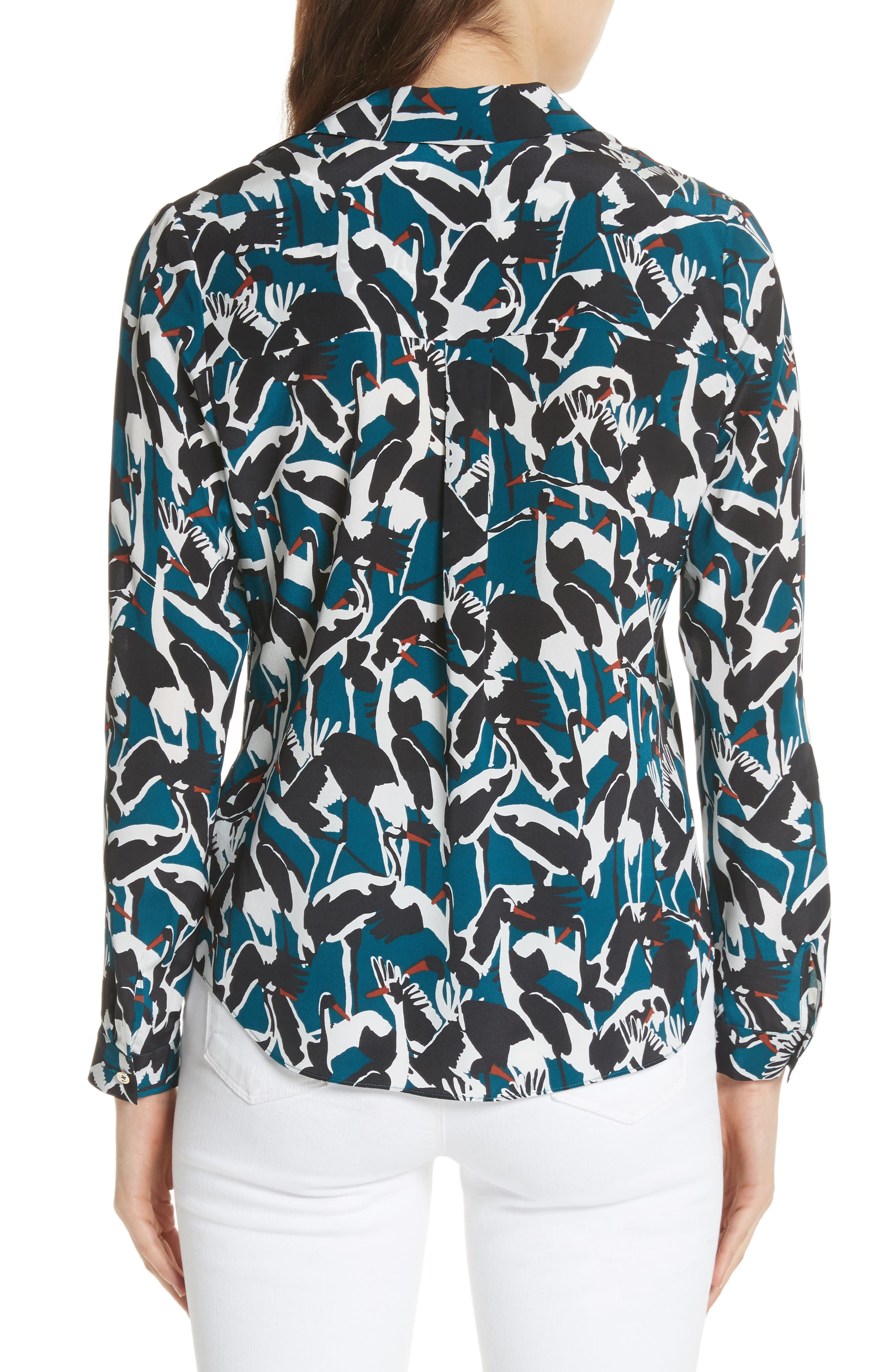 Colour by Numbers Crane Print Silk Shirt,                             Alternate thumbnail 2, color,                             Teal