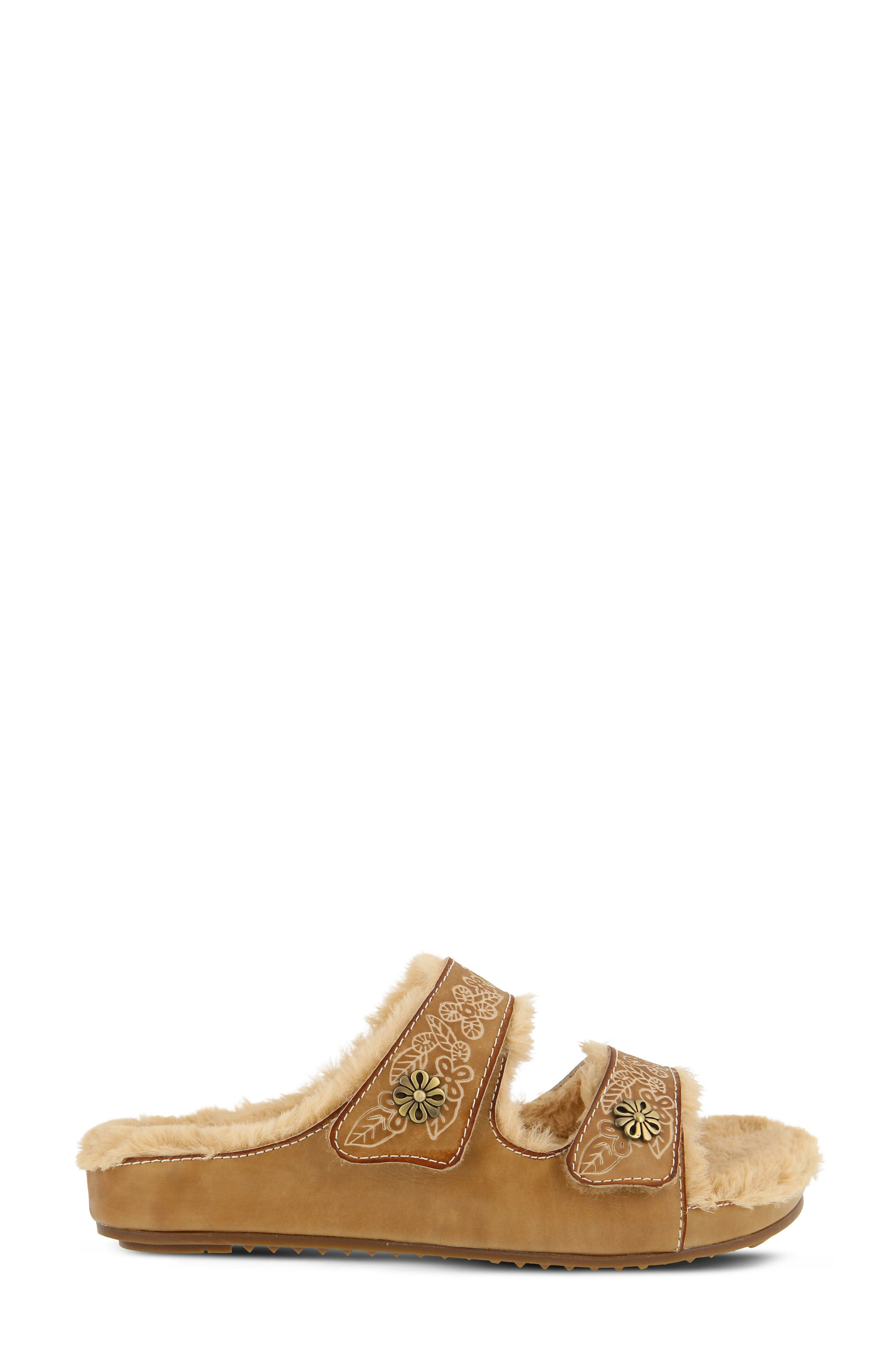 L'Artiste Furrie Sandal,                             Alternate thumbnail 3, color,                             Beige Leather