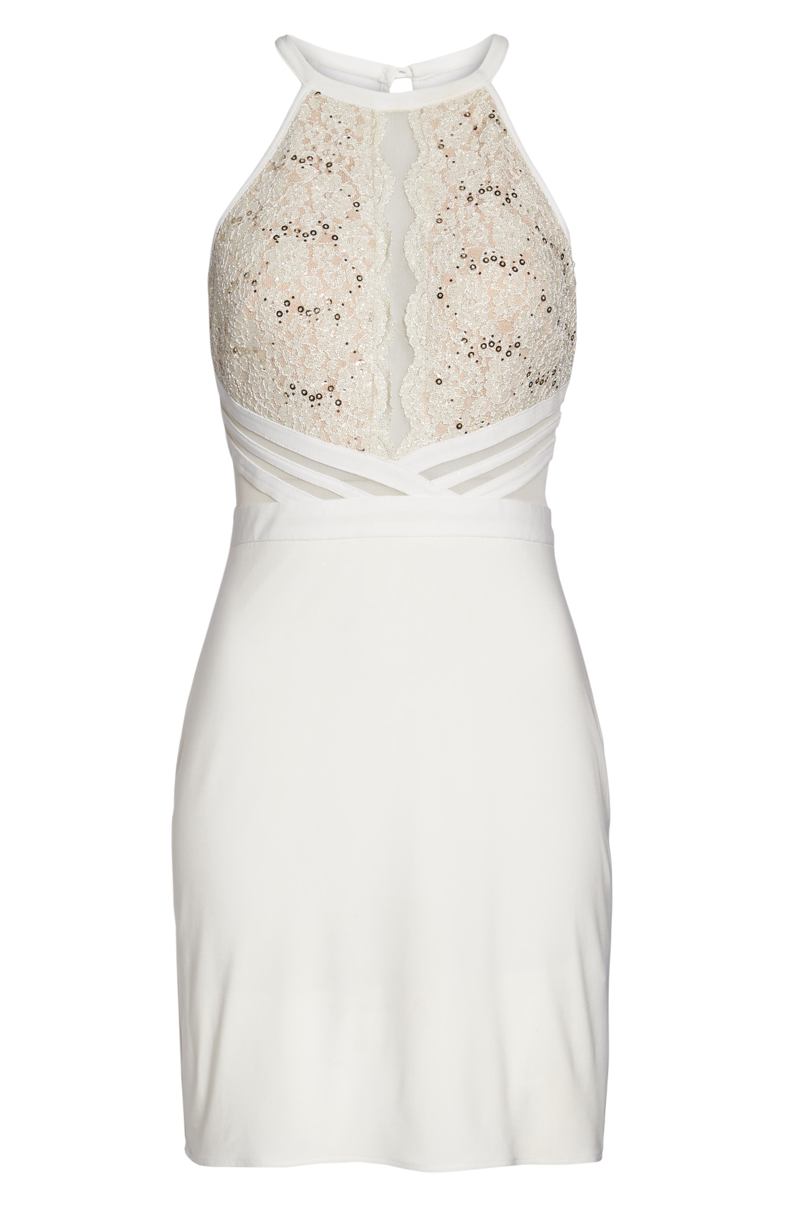 Scallop Lace Bodice Body-Con Dress,                             Alternate thumbnail 6, color,                             Ivory/ Nude