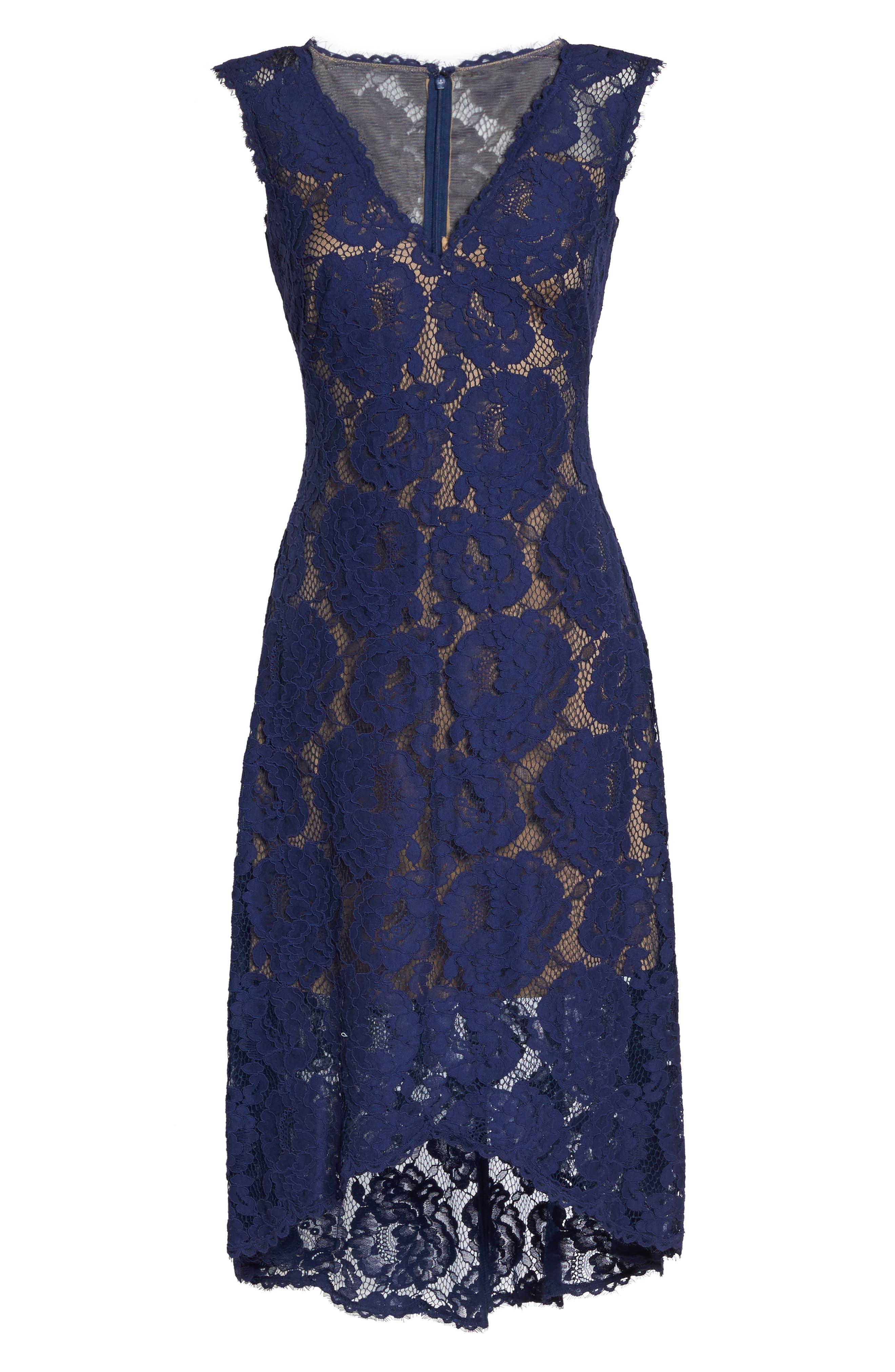 High/Low Lace Dress,                             Alternate thumbnail 6, color,                             Notte/ Nude