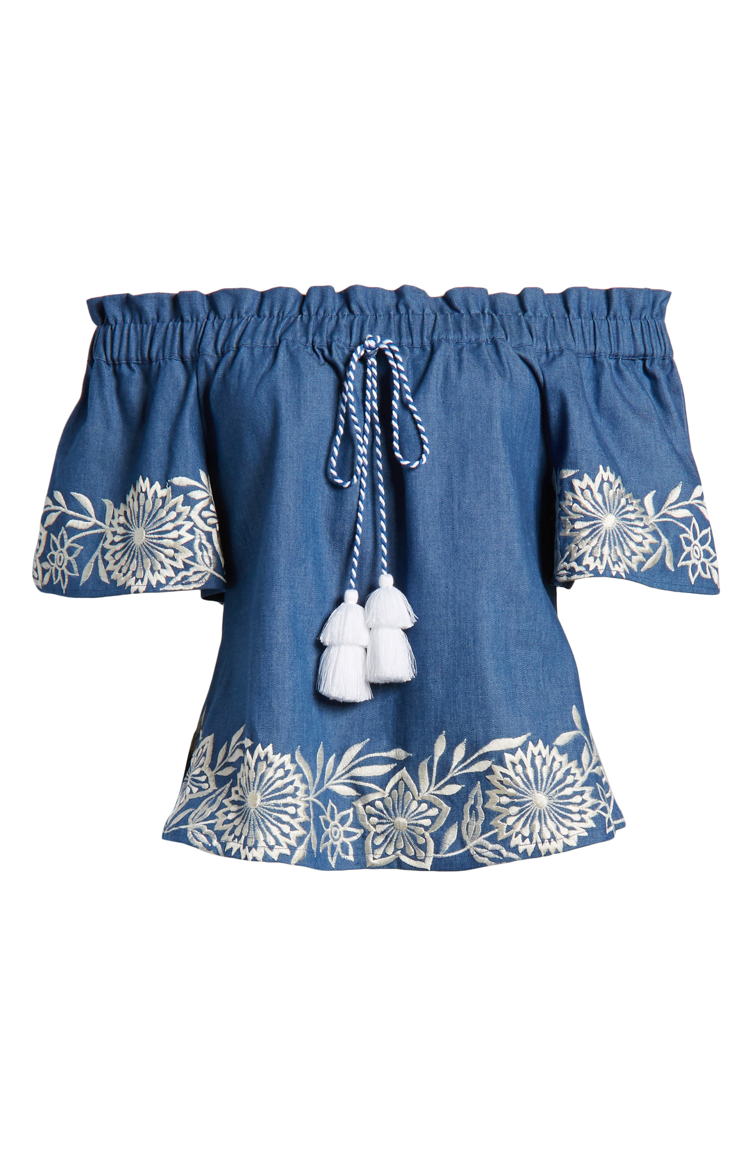 Nisi Embroidered Off the Shoulder Top,                             Alternate thumbnail 7, color,                             Blue