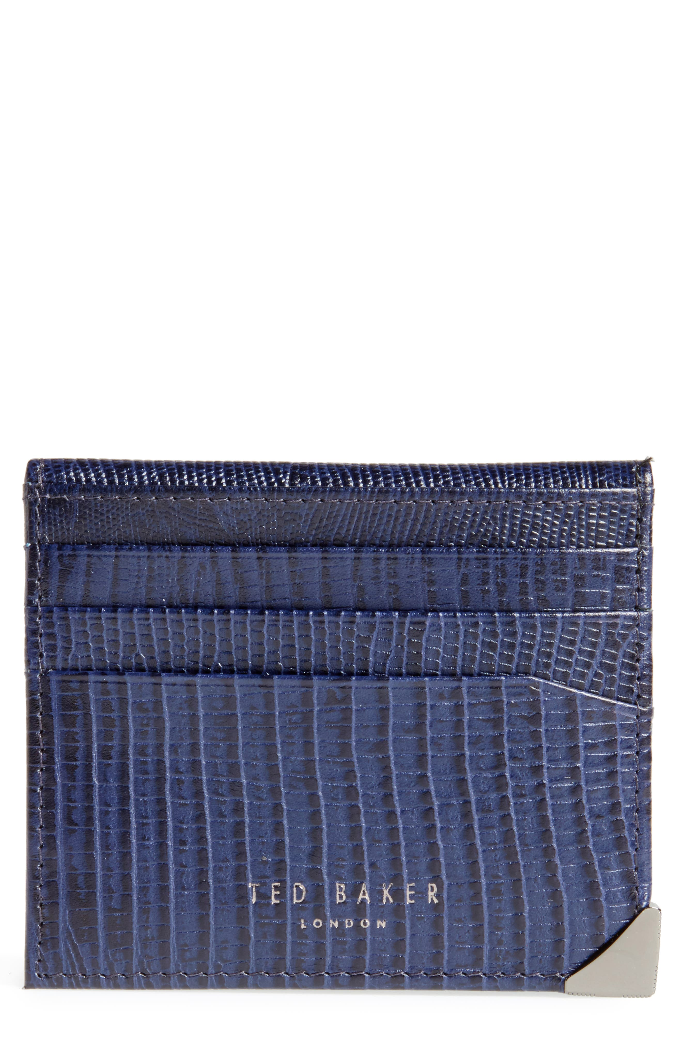 Liztay Lizard Embossed Leather Foldover Card Case,                             Main thumbnail 1, color,                             Navy