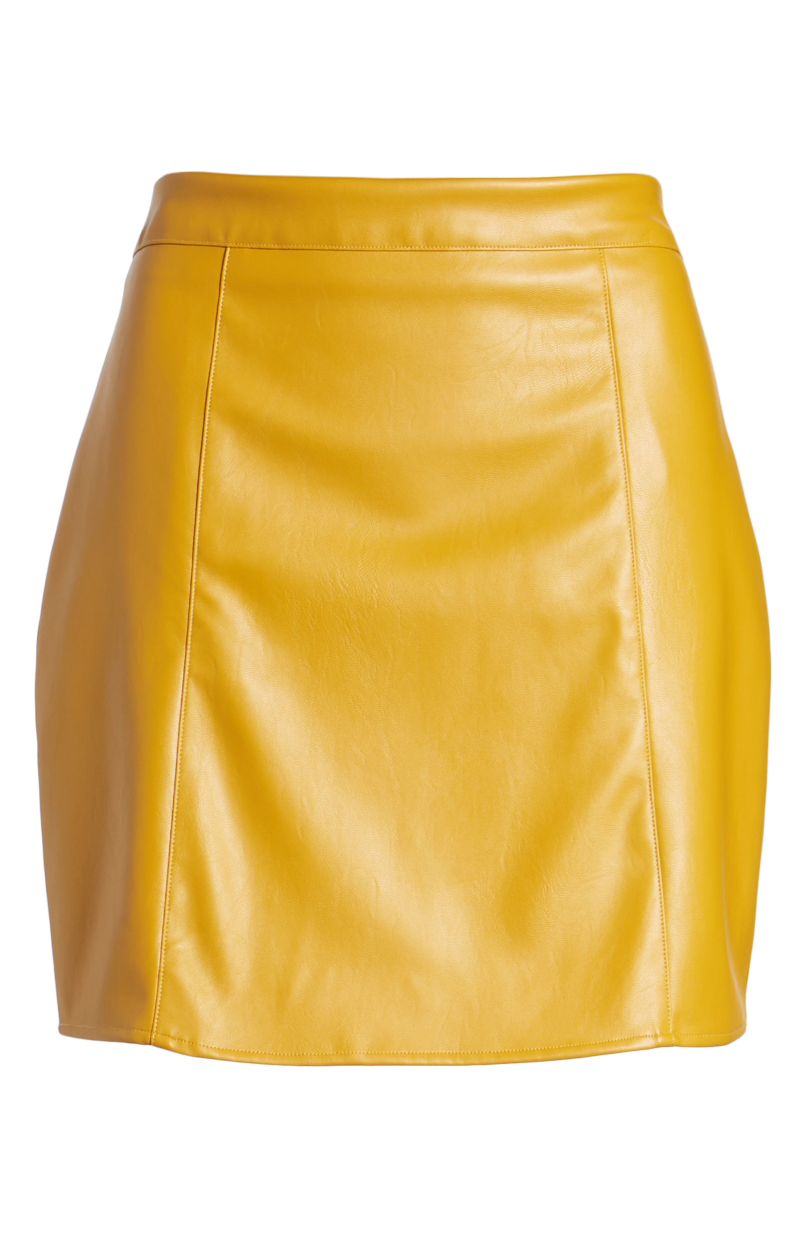 Bishop + Young Faux Leather Miniskirt,                             Alternate thumbnail 6, color,                             Mustard