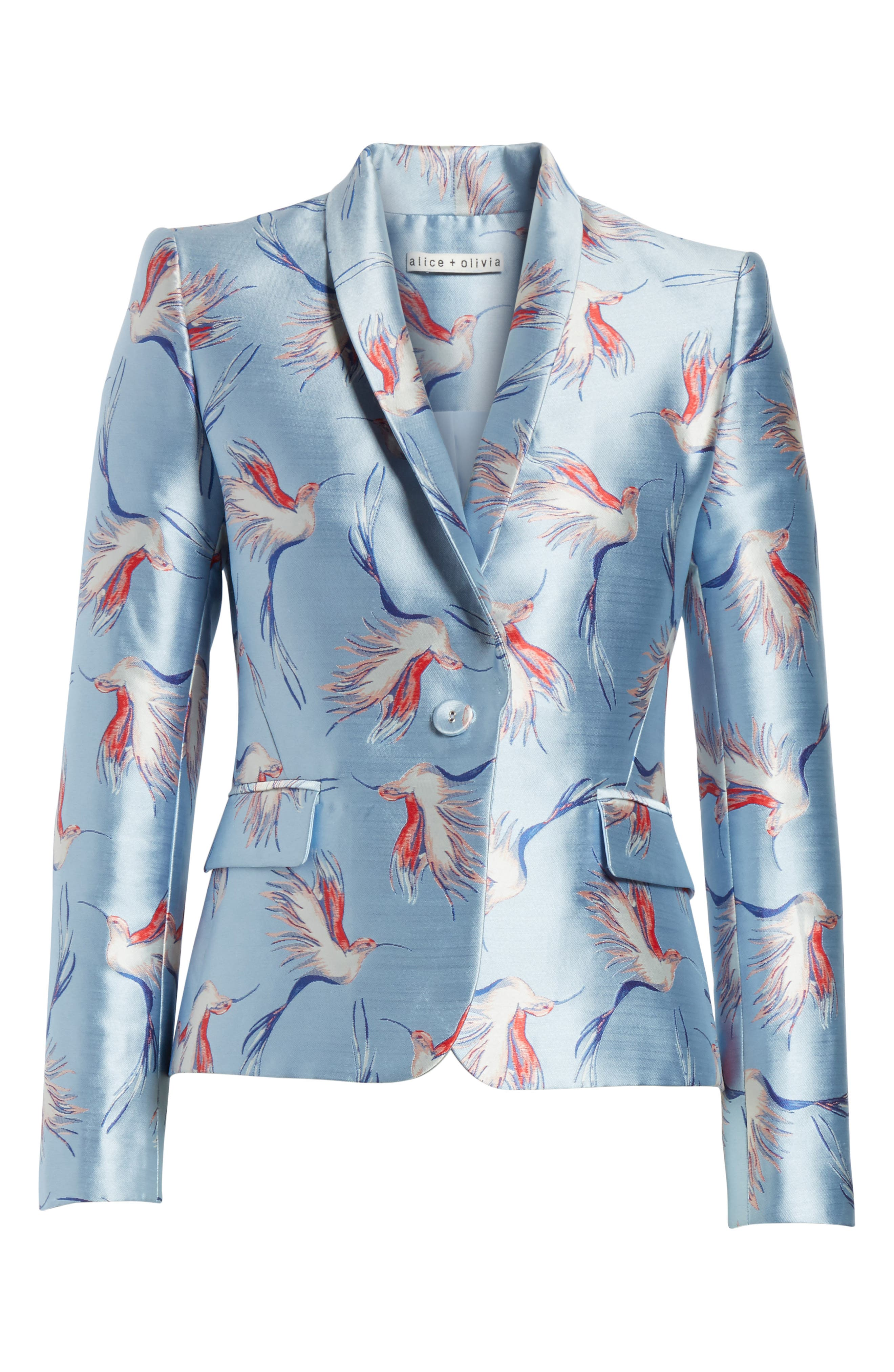 Macey Bird Print Jacket,                             Alternate thumbnail 7, color,                             Dusty Aqua/ Multi