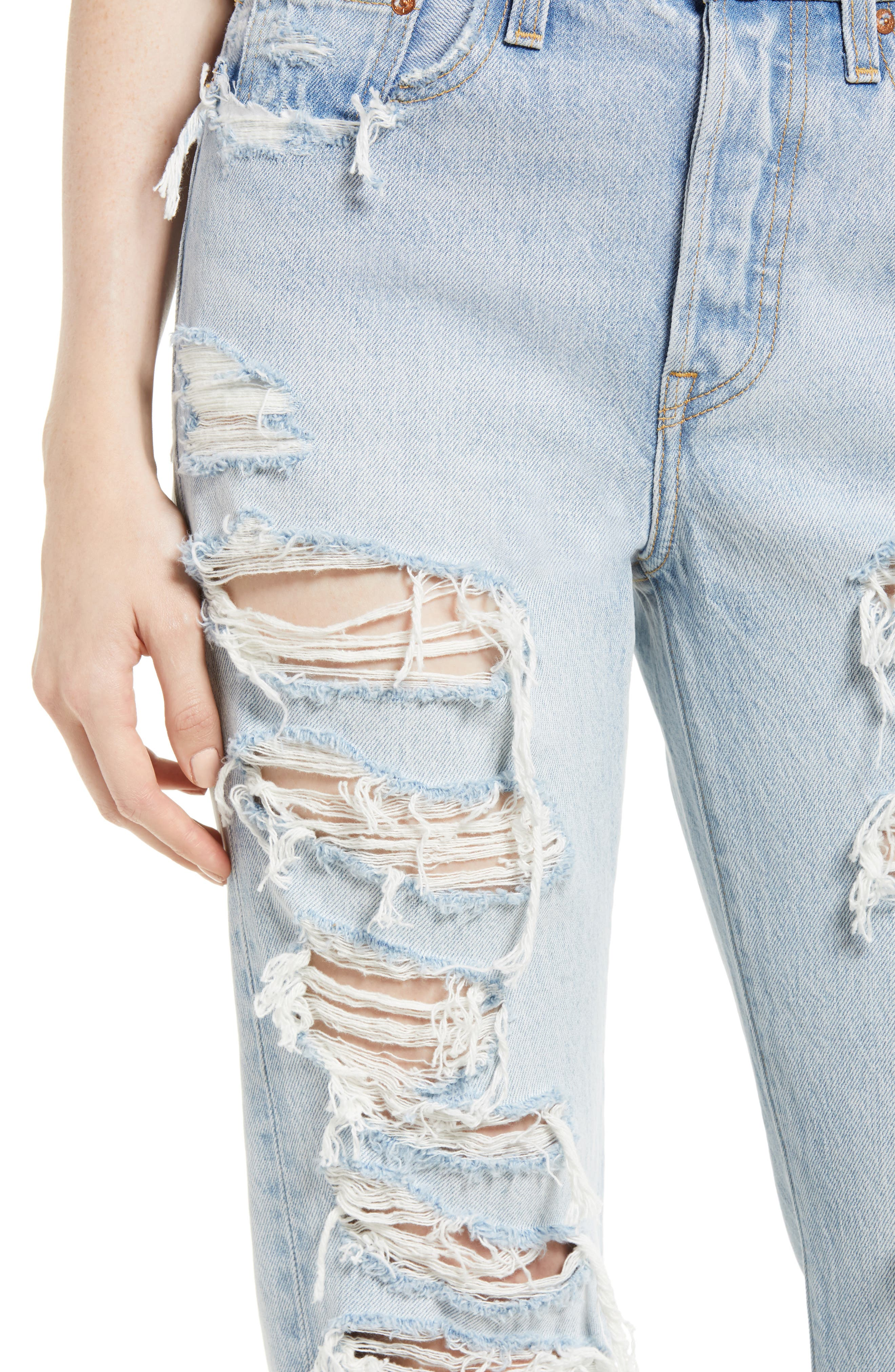 Wedgie High Waist Ripped Straight Jeans,                             Alternate thumbnail 4, color,                             Light Blue 1