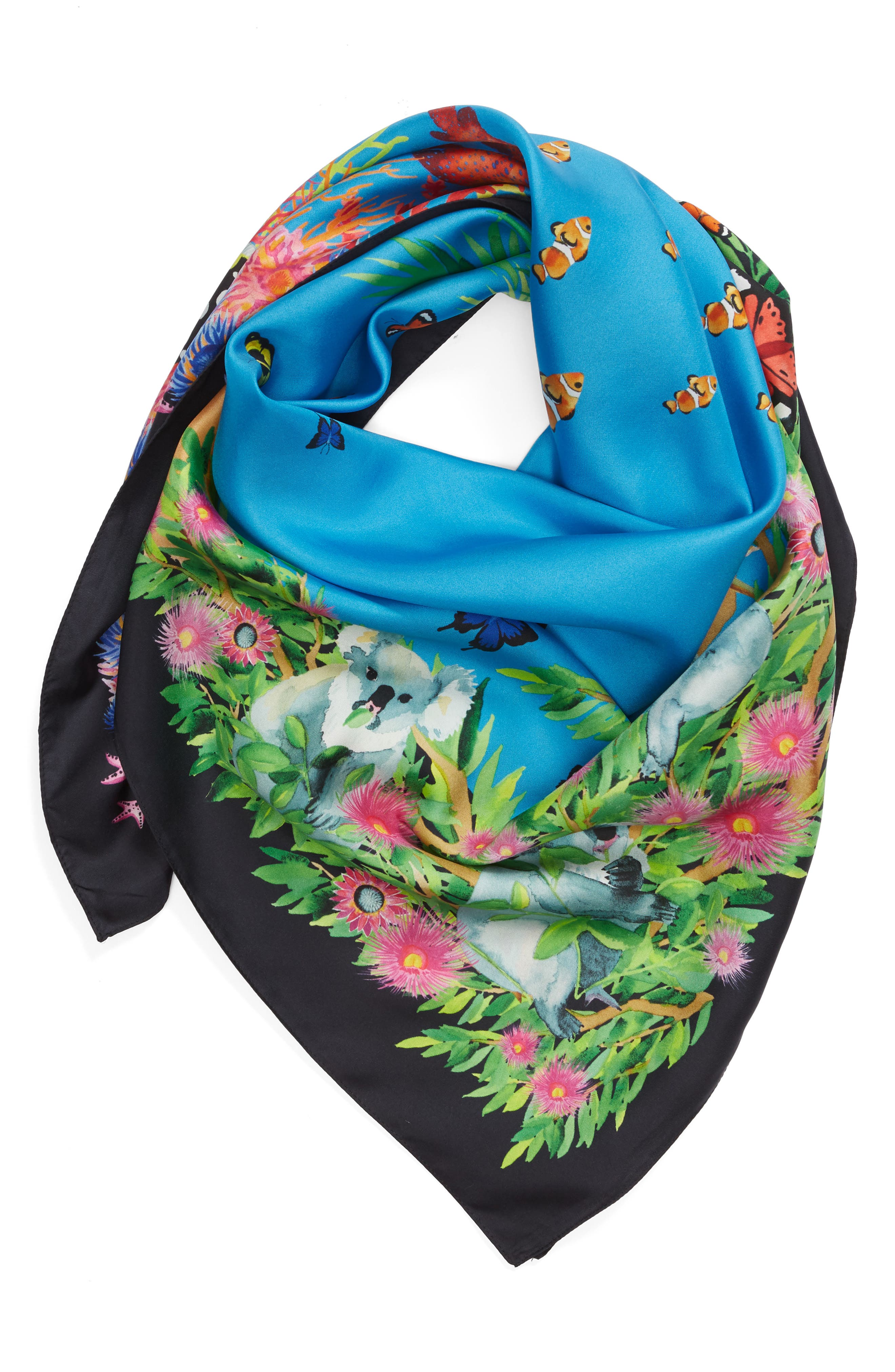 Down Under Silk Square Scarf,                             Alternate thumbnail 2, color,                             Navy