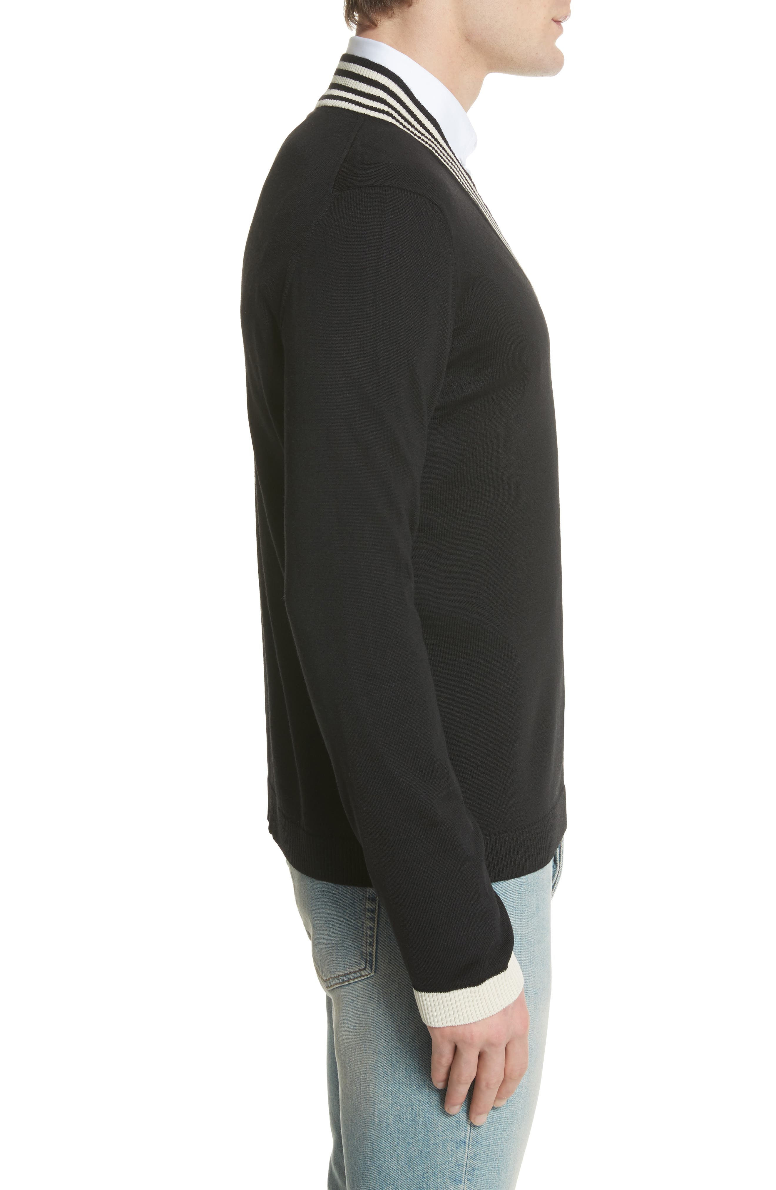 Bee Appliqué Wool Pullover Sweater,                             Alternate thumbnail 3, color,                             1831 Black