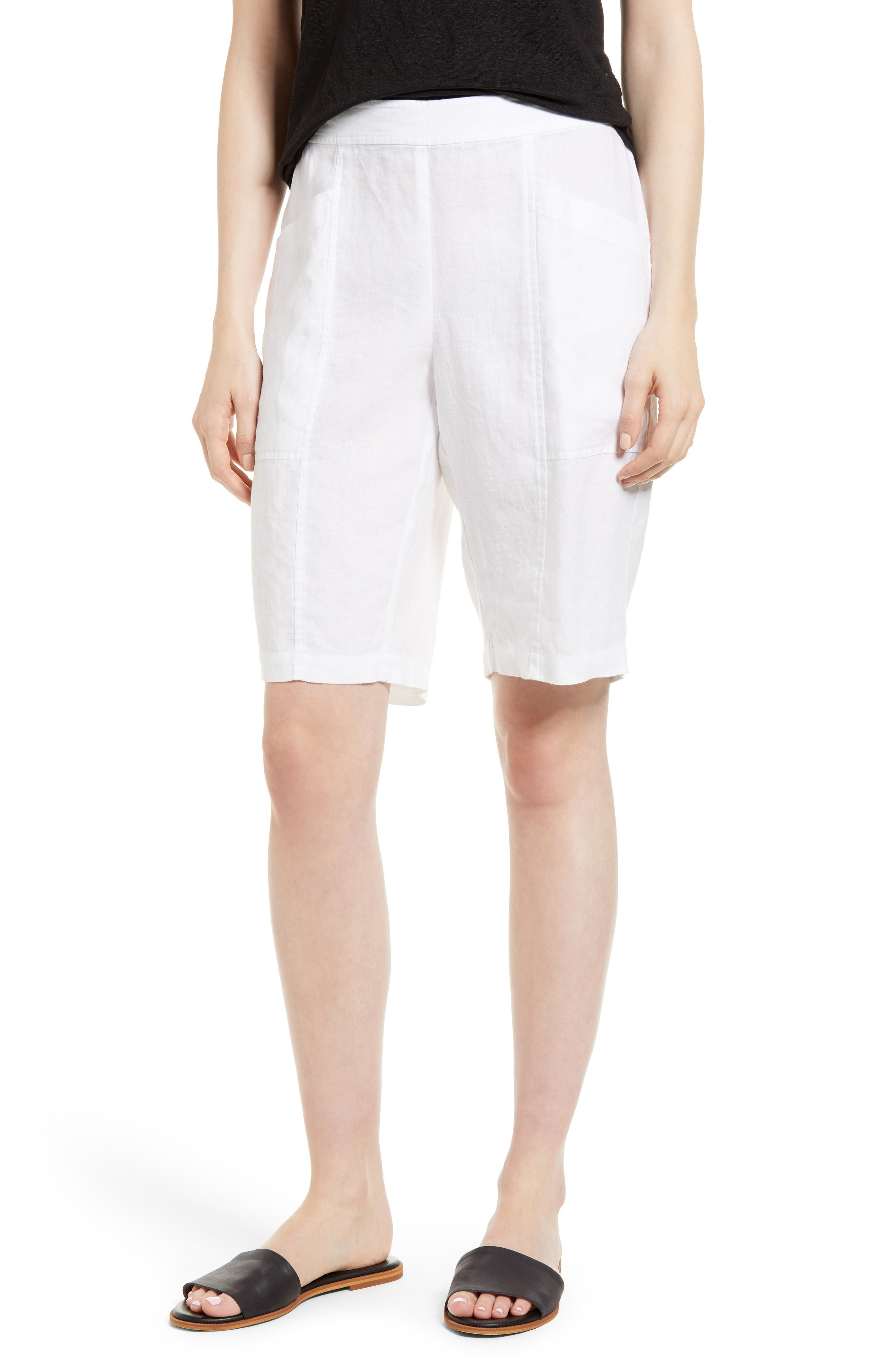 Organic Linen City Shorts,                         Main,                         color, White