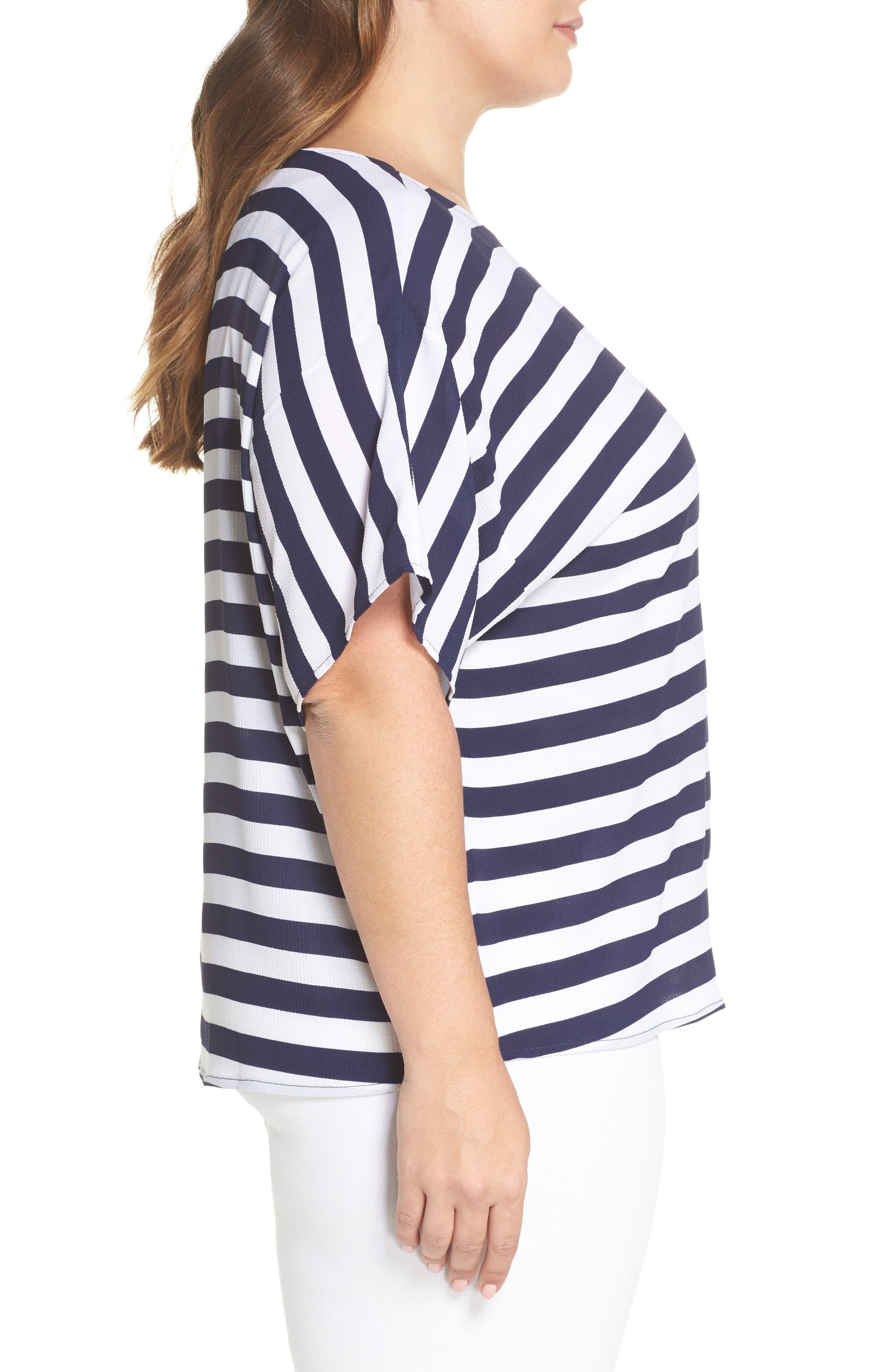 Stripe Side Tie Top,                             Alternate thumbnail 3, color,                             True Navy
