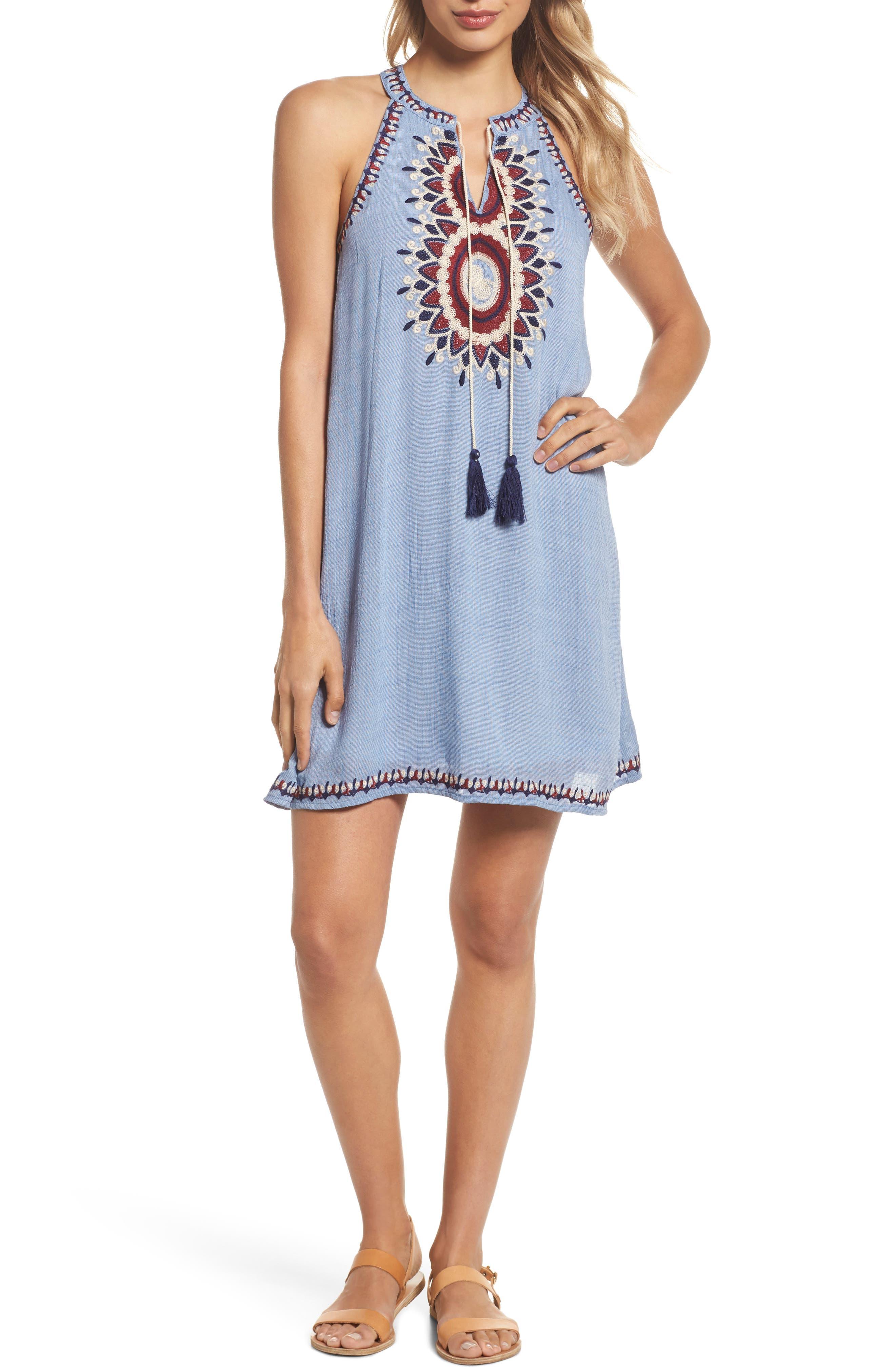 THML Embroidered Halter Neck Shift Dress