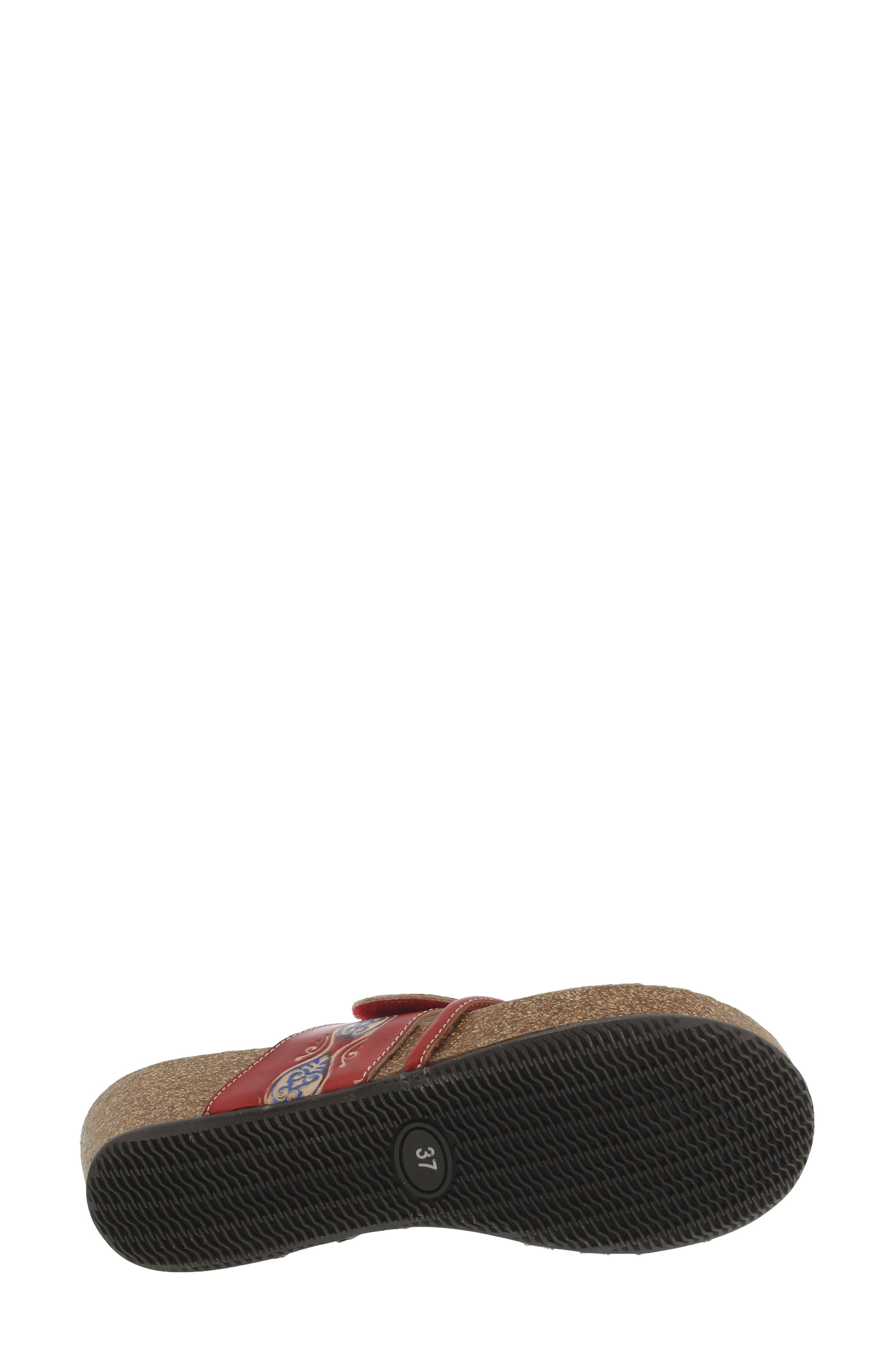L'Artiste Claudia Wedge Sandal,                             Alternate thumbnail 5, color,                             Red Leather