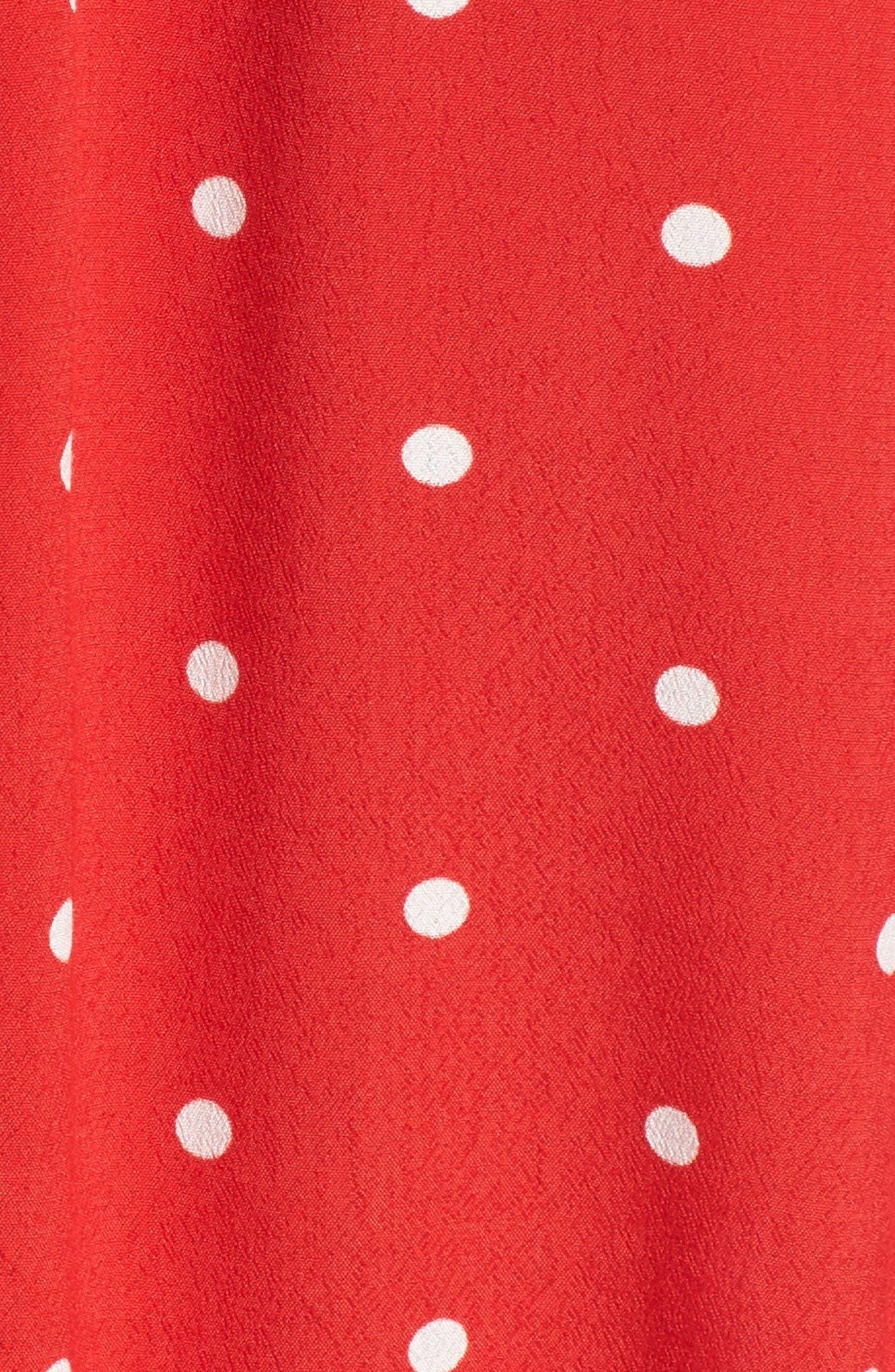 Natalia Midi Dress,                             Alternate thumbnail 5, color,                             Red Dot