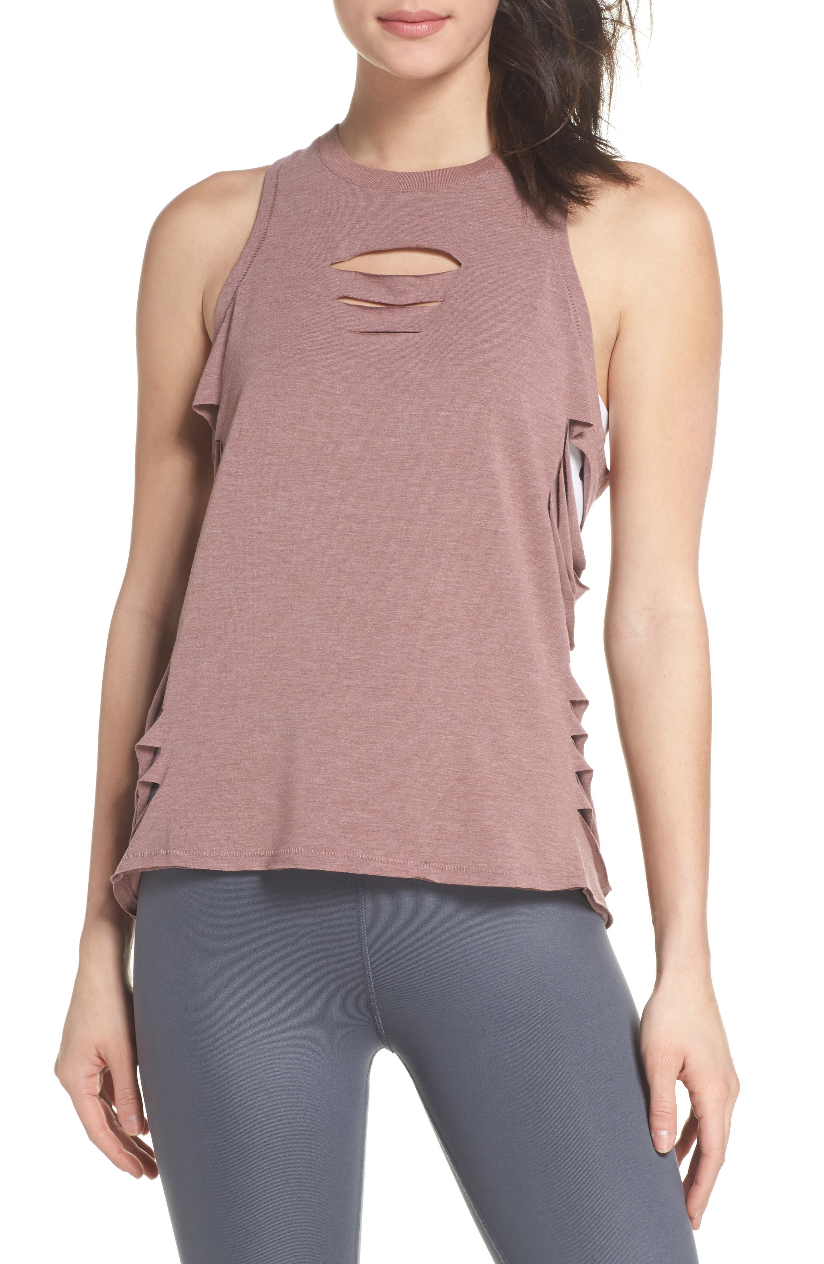 Cut It Out Long Tank,                         Main,                         color, Rose Water