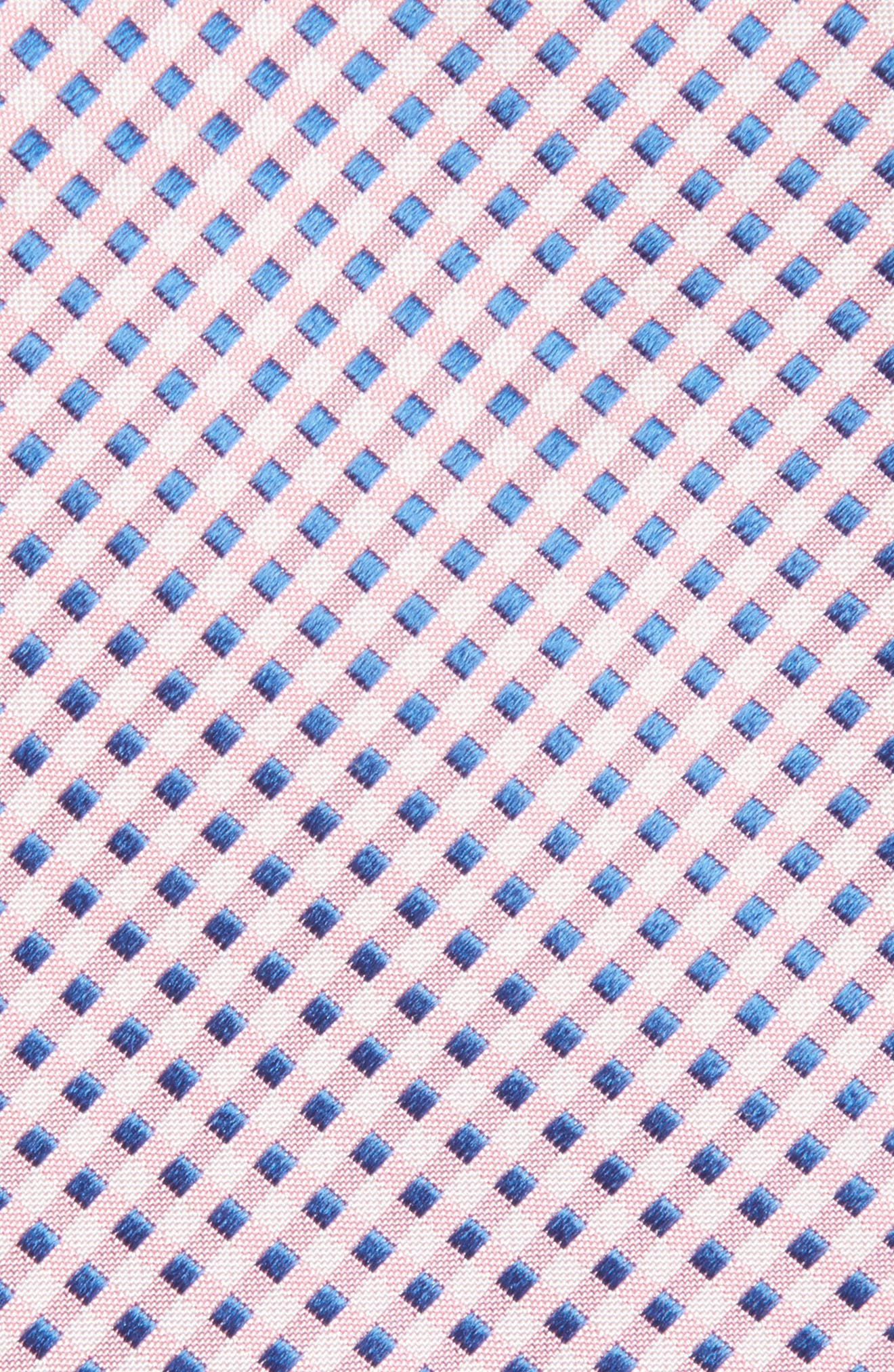 Grid Silk Tie,                             Alternate thumbnail 2, color,                             Pink