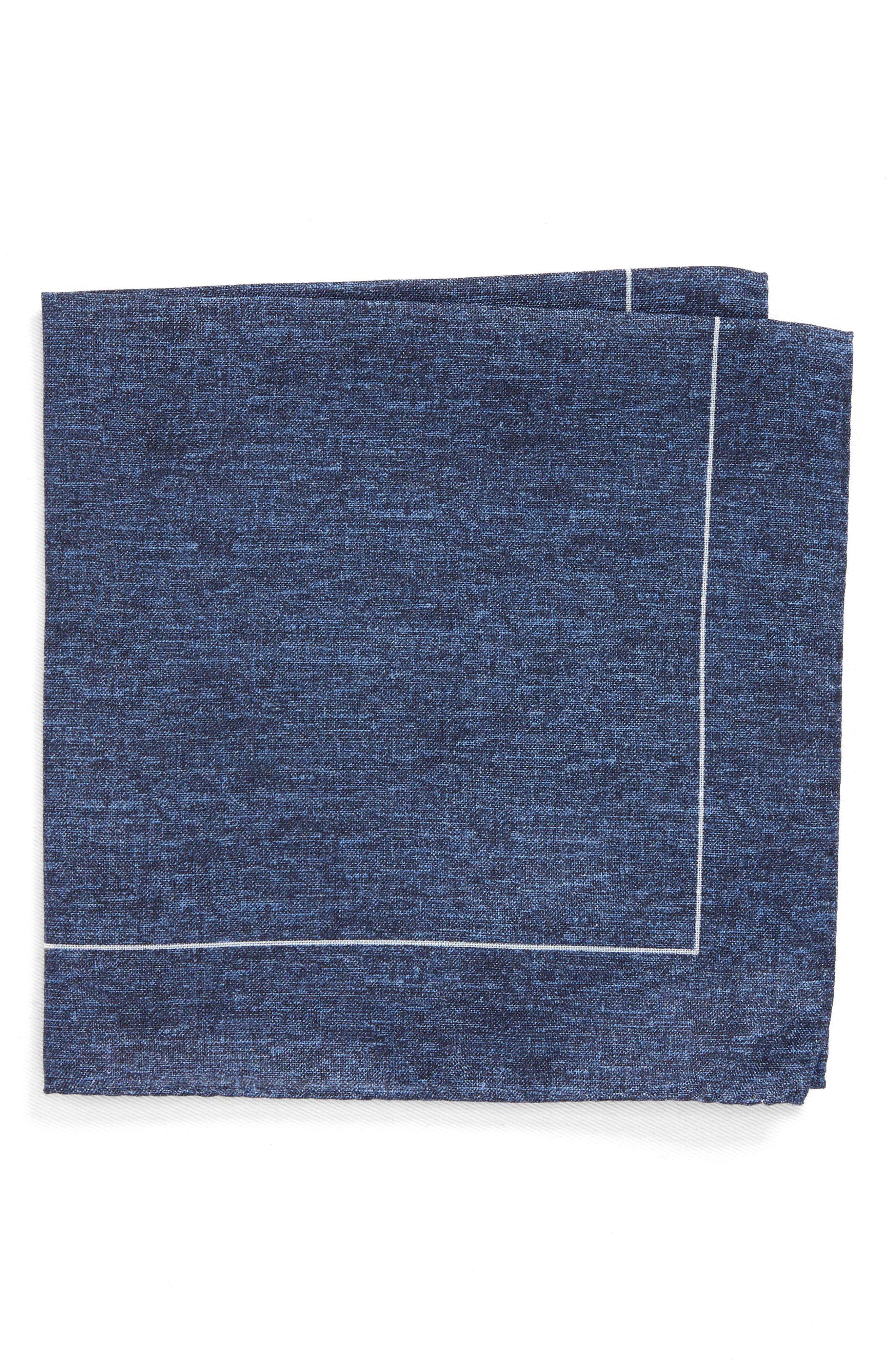 Denim Print Silk Pocket Square,                         Main,                         color, Denim