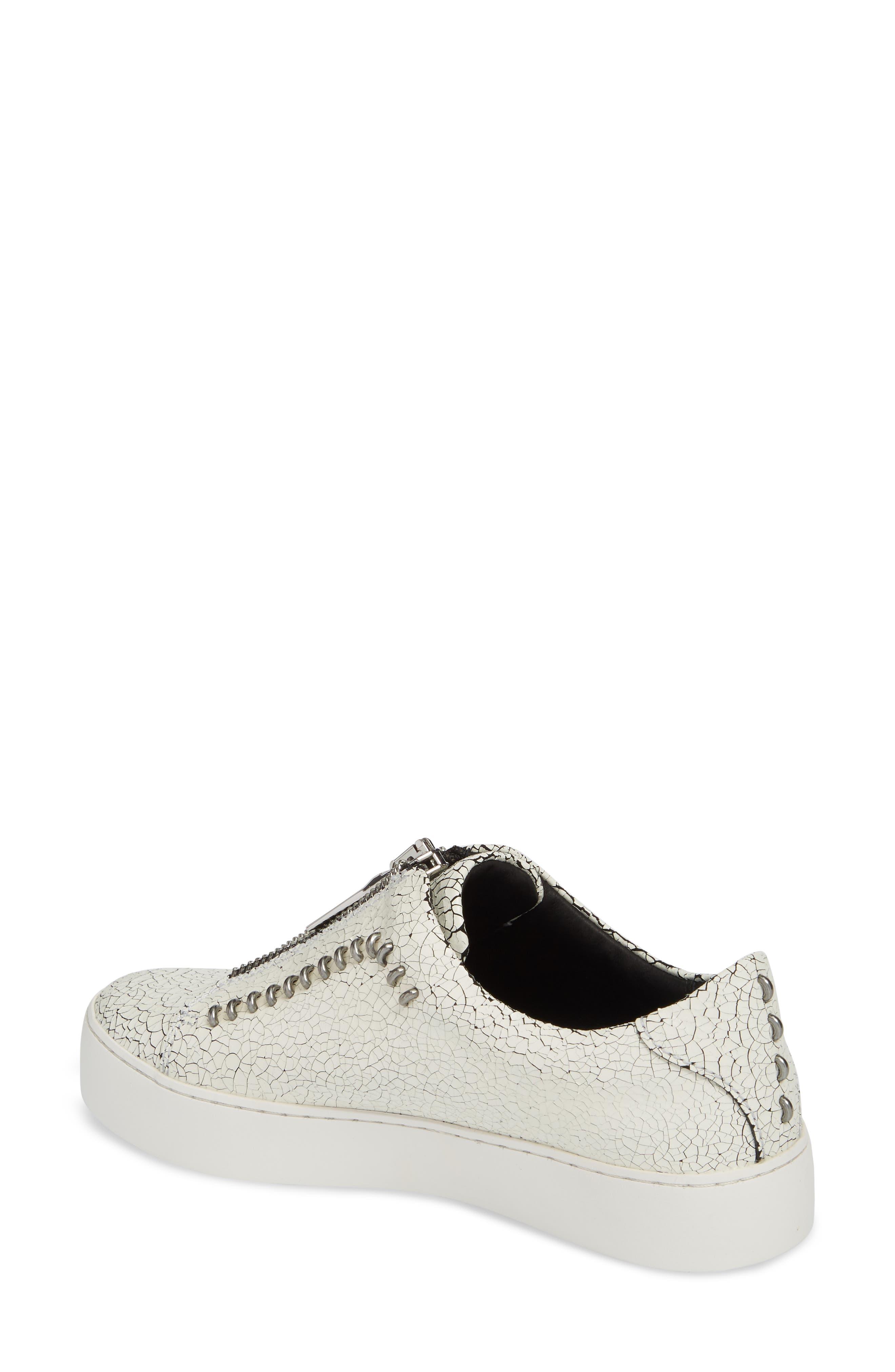 Lena Rebel Zip Sneaker,                             Alternate thumbnail 2, color,                             White Leather