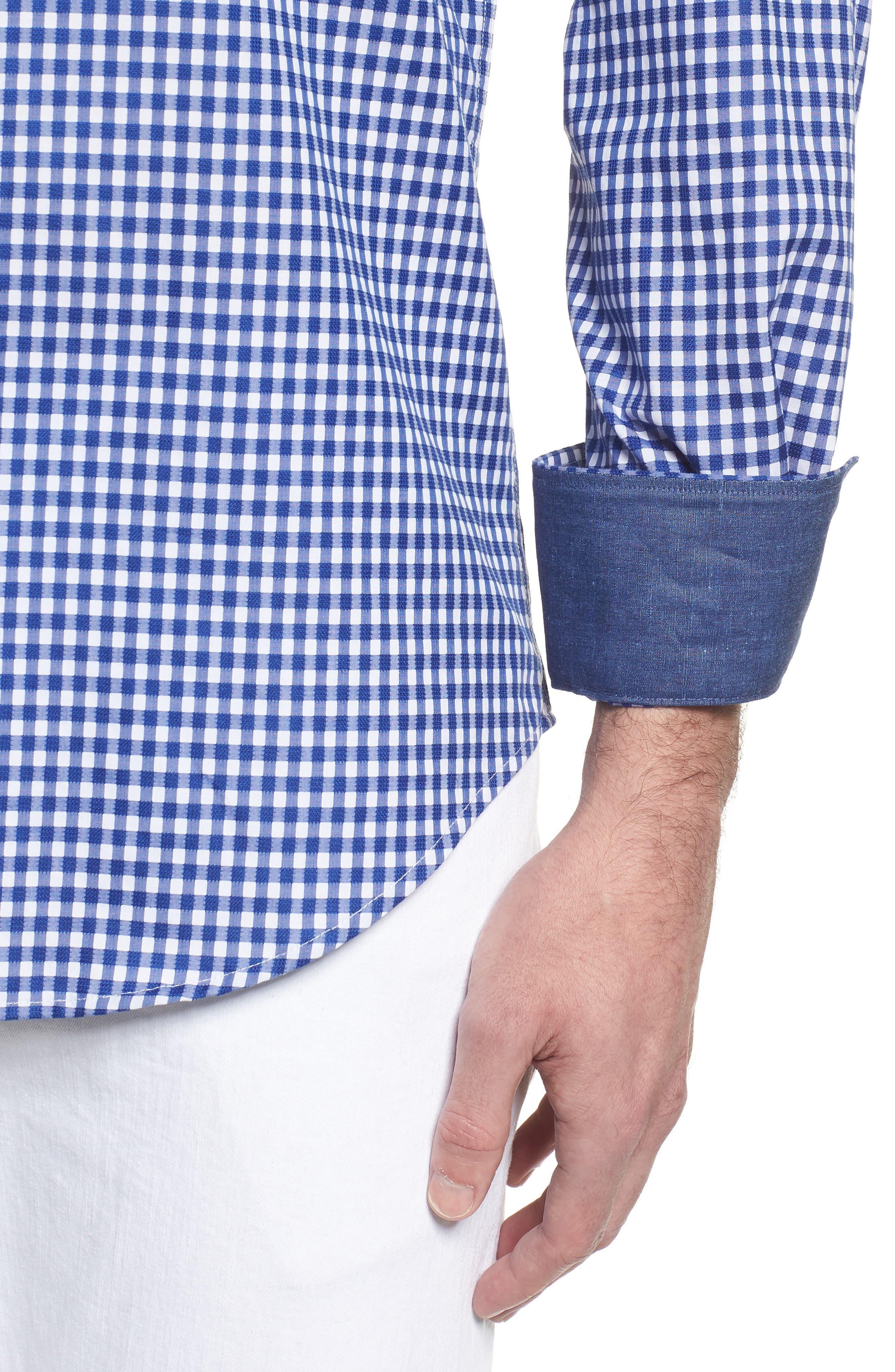 Shaped Fit Check Sport Shirt,                             Alternate thumbnail 4, color,                             Navy