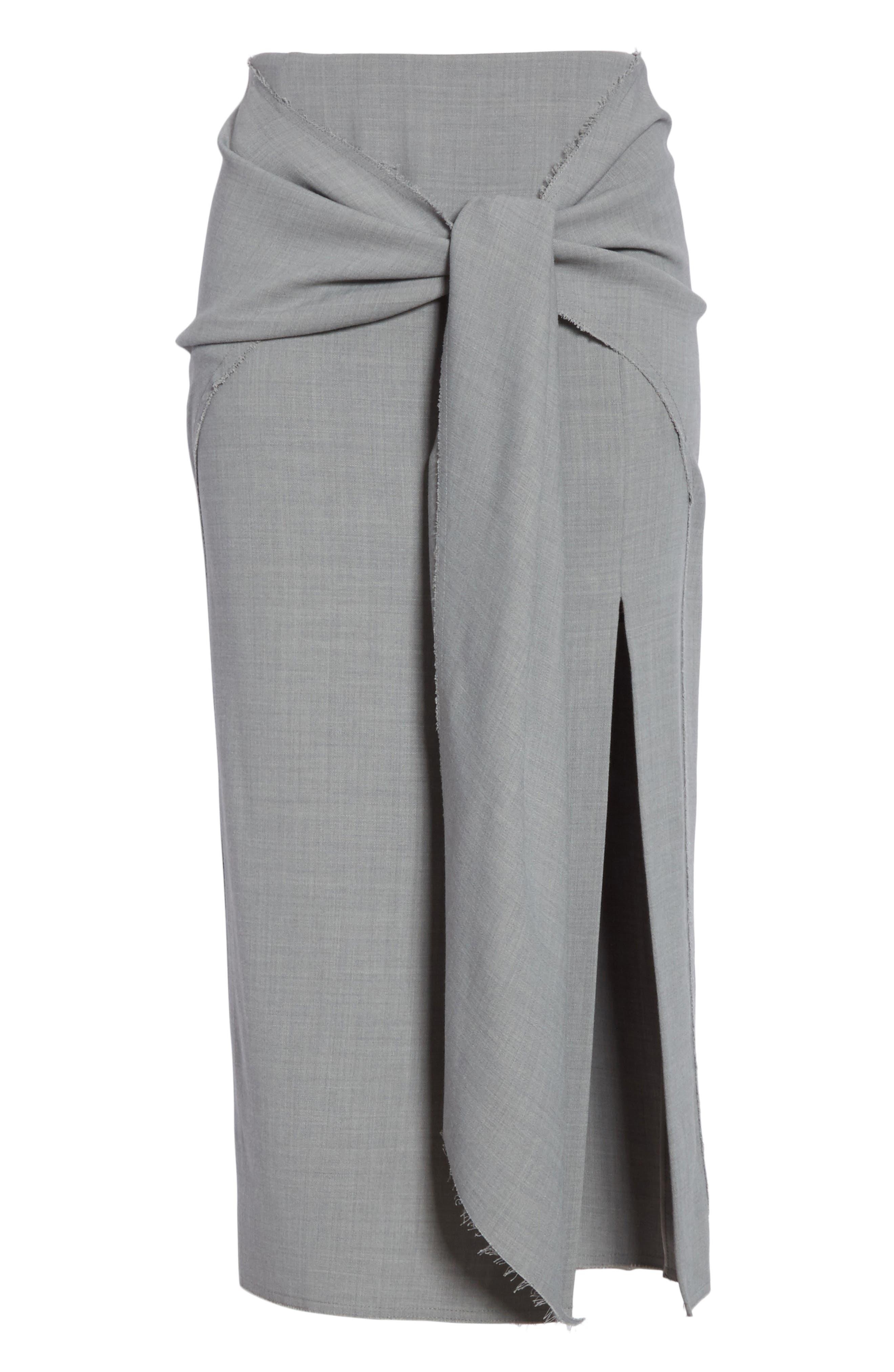 Raw Hem Tie Front Skirt,                             Alternate thumbnail 6, color,                             Light Grey Melange