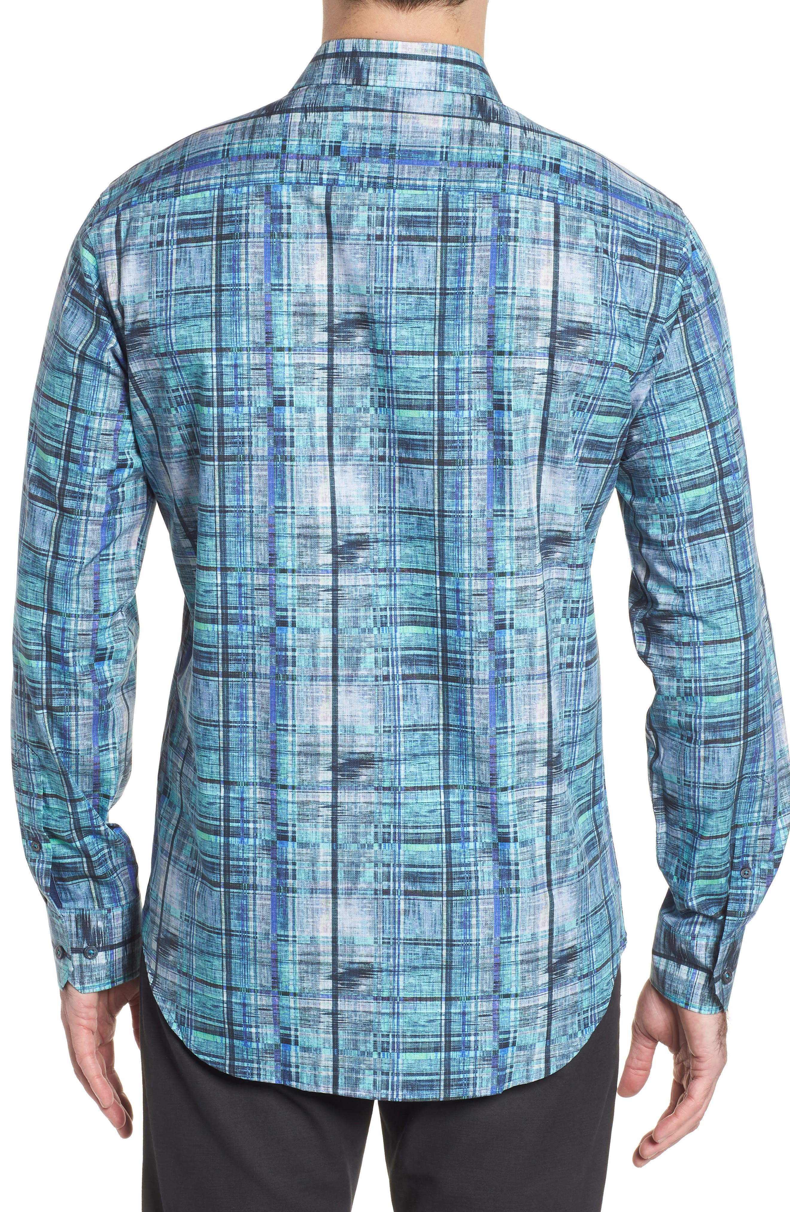 Shaped Fit Distressed Check Sport Shirt,                             Alternate thumbnail 2, color,                             Turquoise