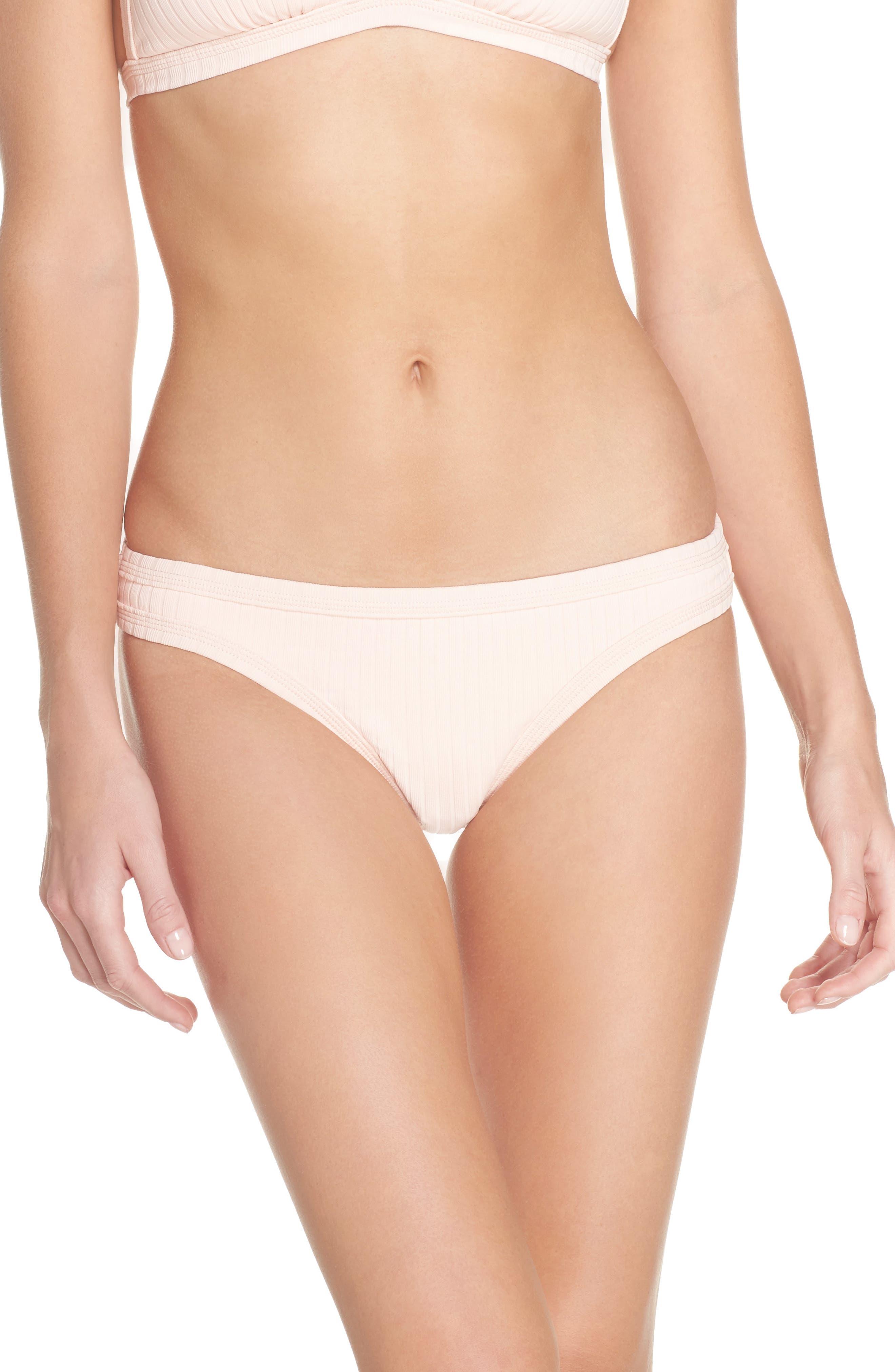 Inka Ribbed Bikini Bottoms,                         Main,                         color, Rose Pink