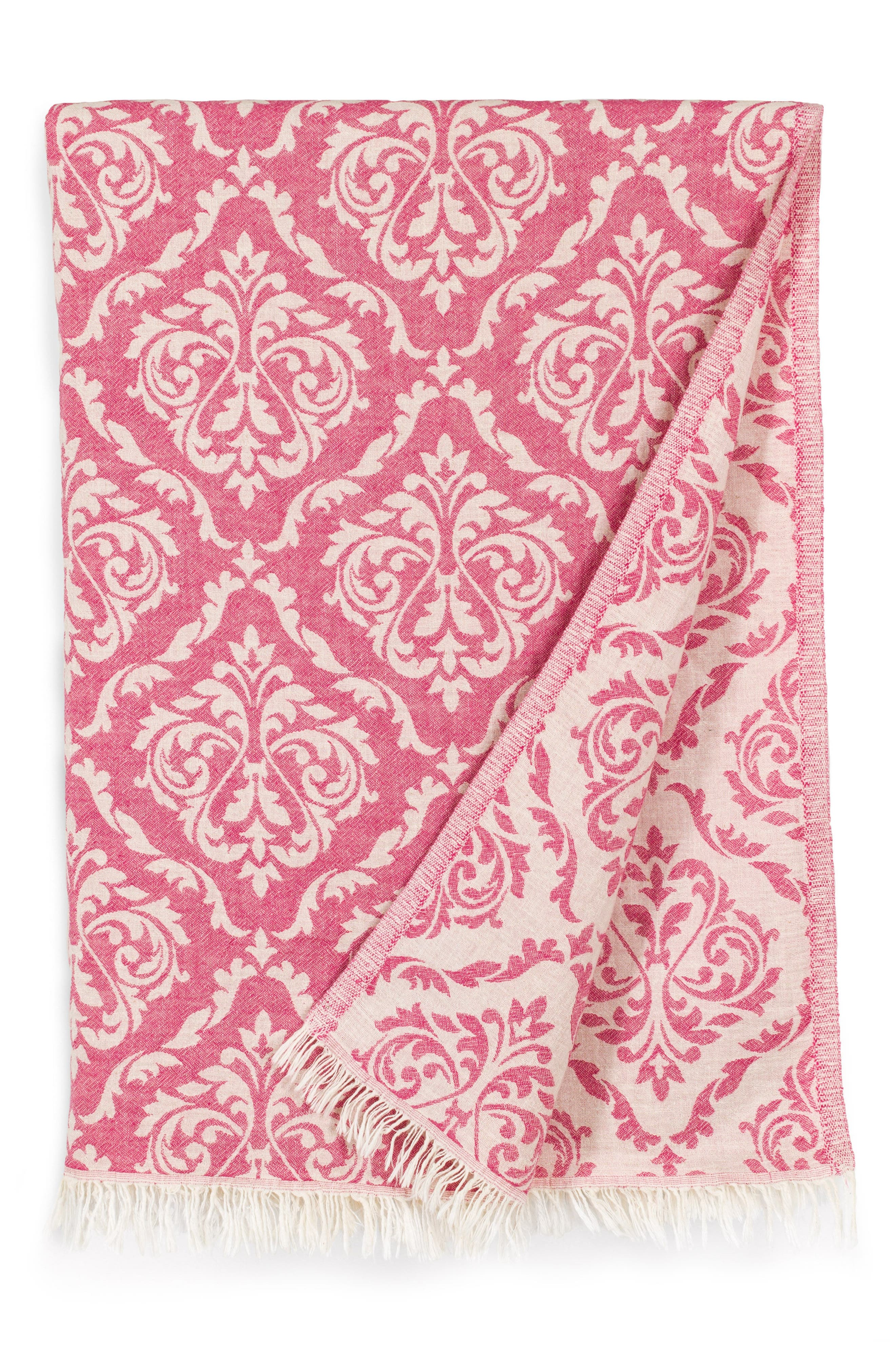 Damask Delight Turkish Pestemal Towel,                             Alternate thumbnail 2, color,                             Red