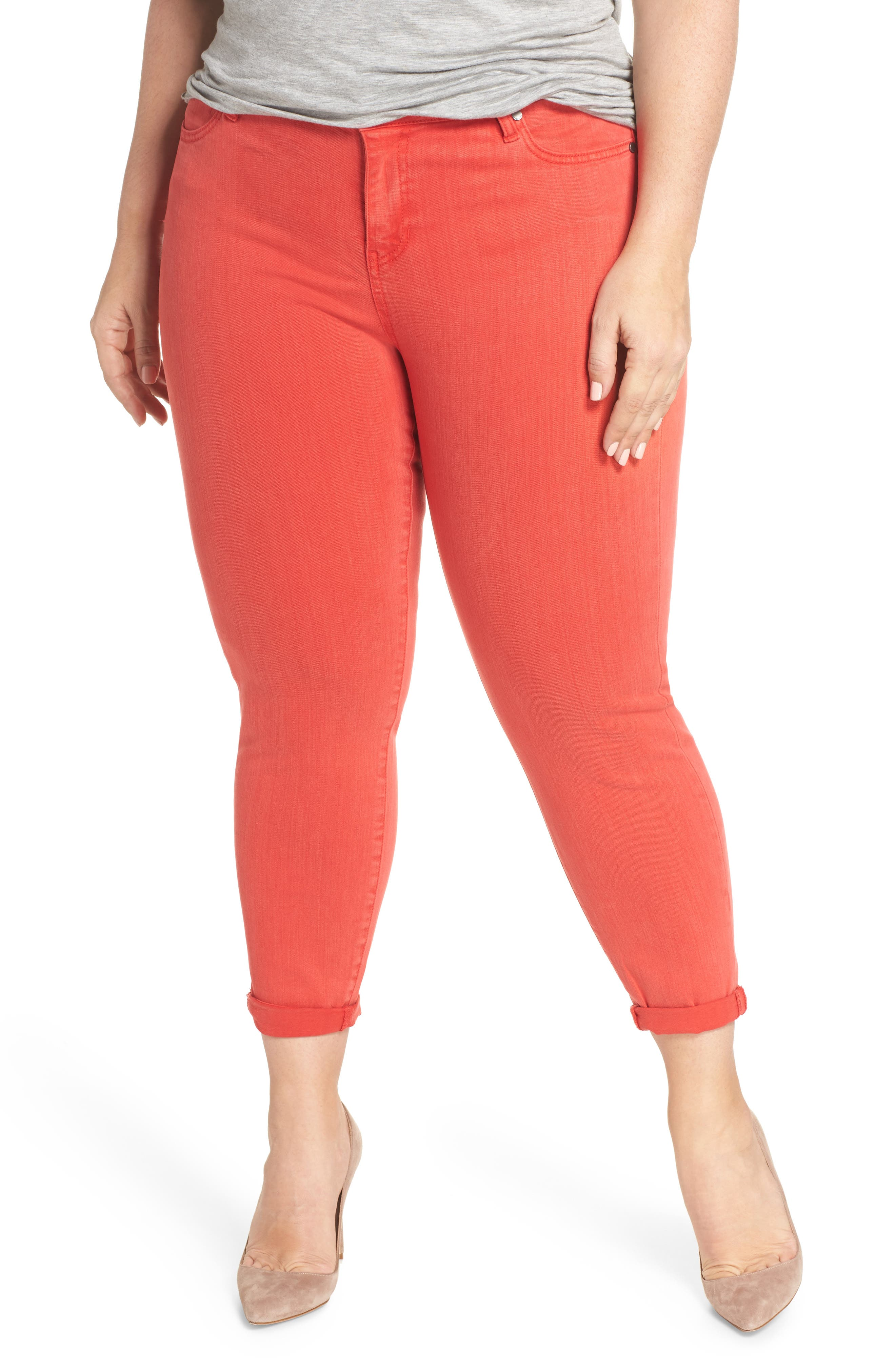 Liverpool Jeans Company Cami Cropped Skinny Jeans (Ribbon Red) (Plus Size)