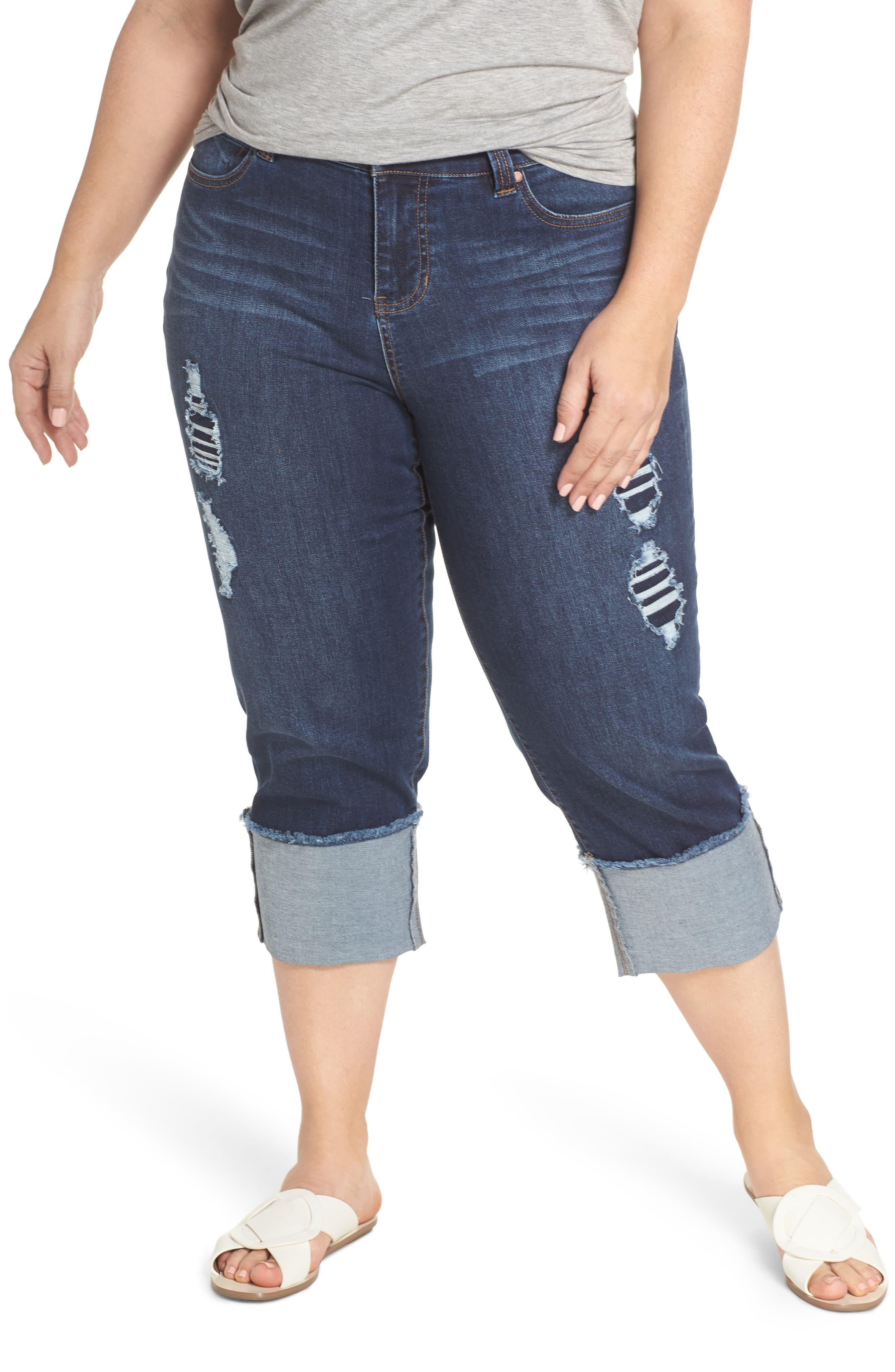 Liverpool Jeans Company Morgan Wide Cuff Crop Jeans (Chapman) (Plus Size)