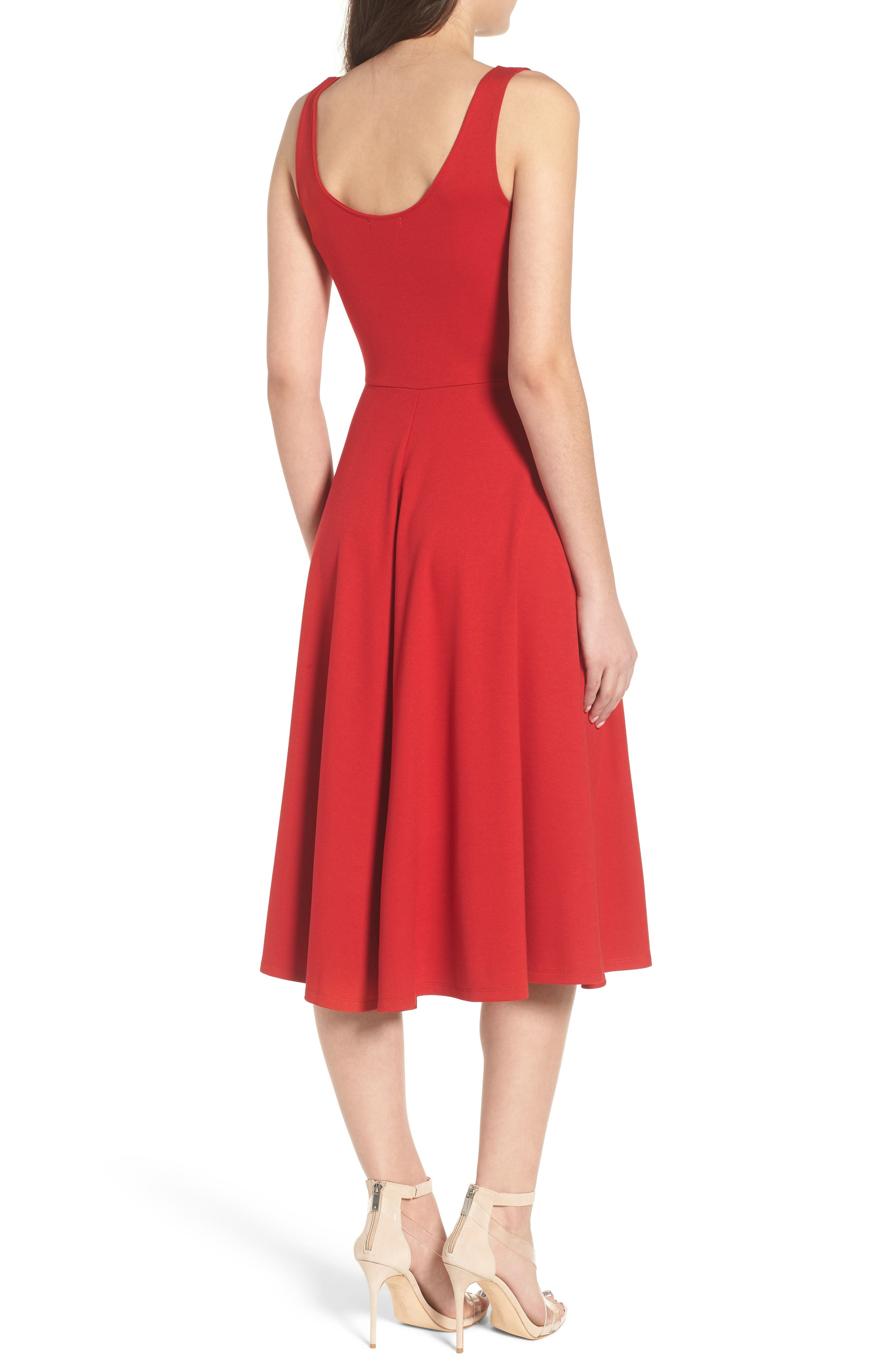 Stretch Knit Midi Dress,                             Alternate thumbnail 3, color,                             Red Couture