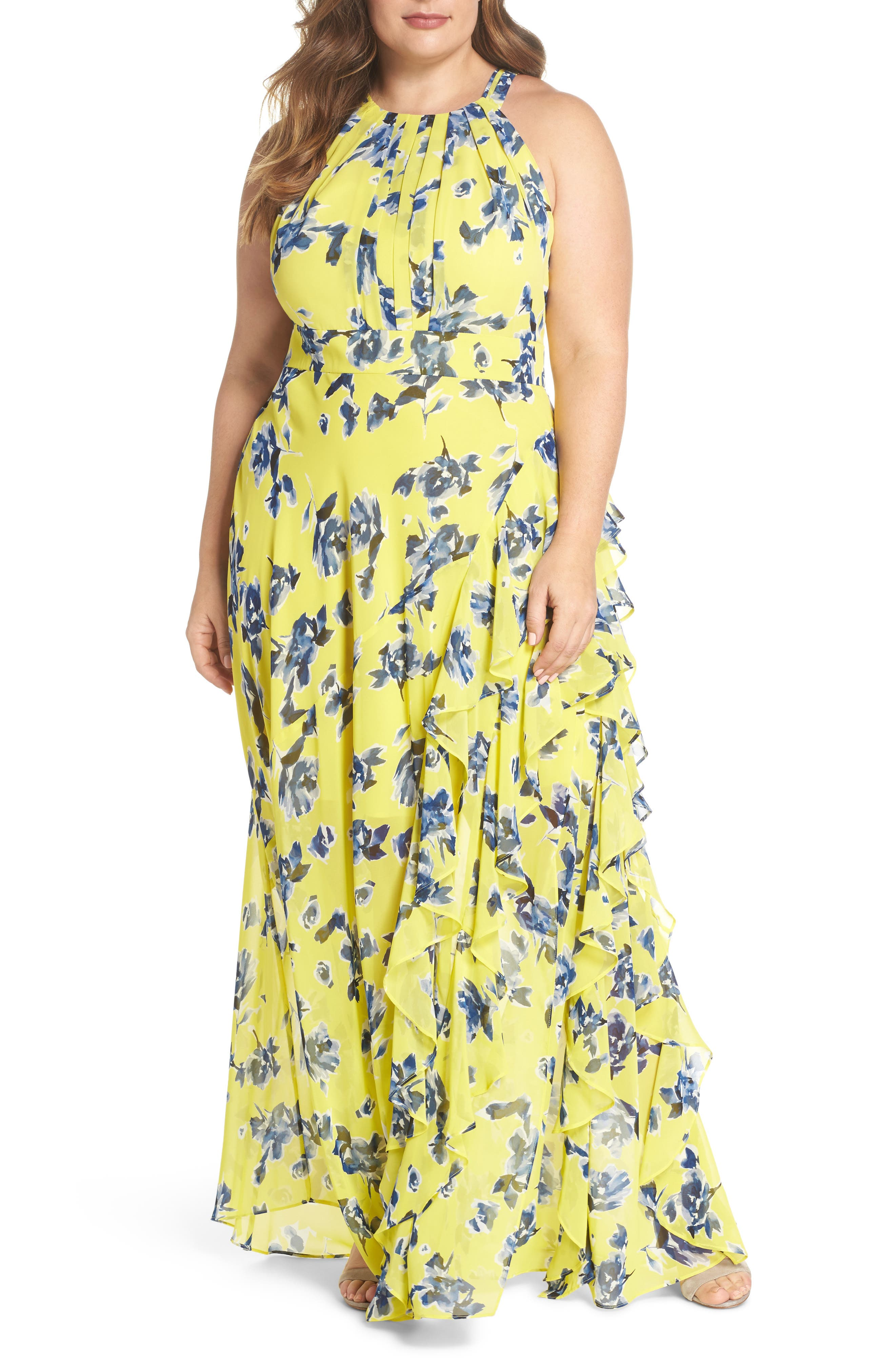 Floral Ruffle Halter Maxi Dress,                             Main thumbnail 1, color,                             Yellow