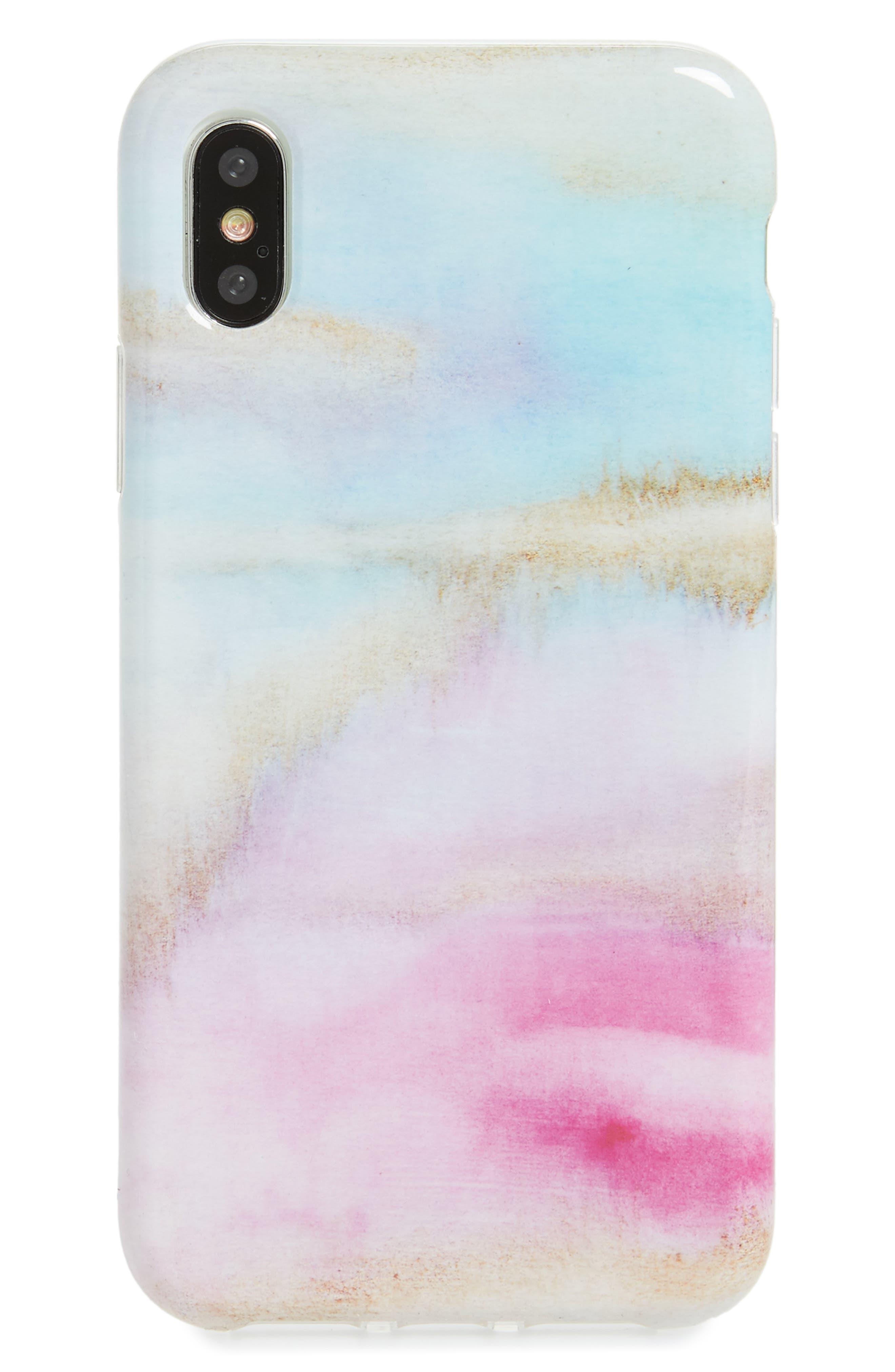 Watercolor iPhone X Case,                         Main,                         color, Pastel Multi